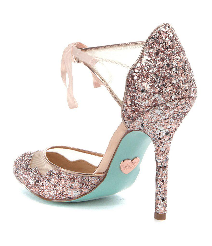 Betsey Johnson Blue by Betsey Johnson Stela Glitter Ankle-Strap Pointed-Toe Pumps wREvoevC