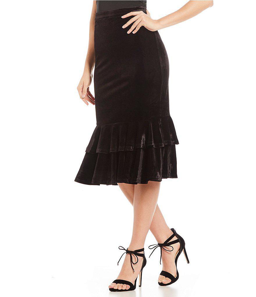 1f3c4b43bb Gianni Bini Layla Velvet Ruffle Hem Skirt in Black - Lyst