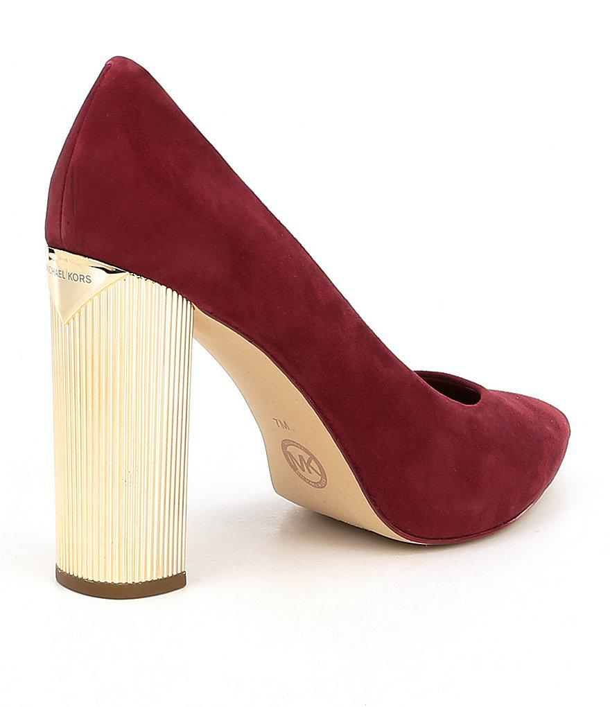 aa81b20c5a8d Lyst - MICHAEL Michael Kors Paloma Suede Pumps in Red