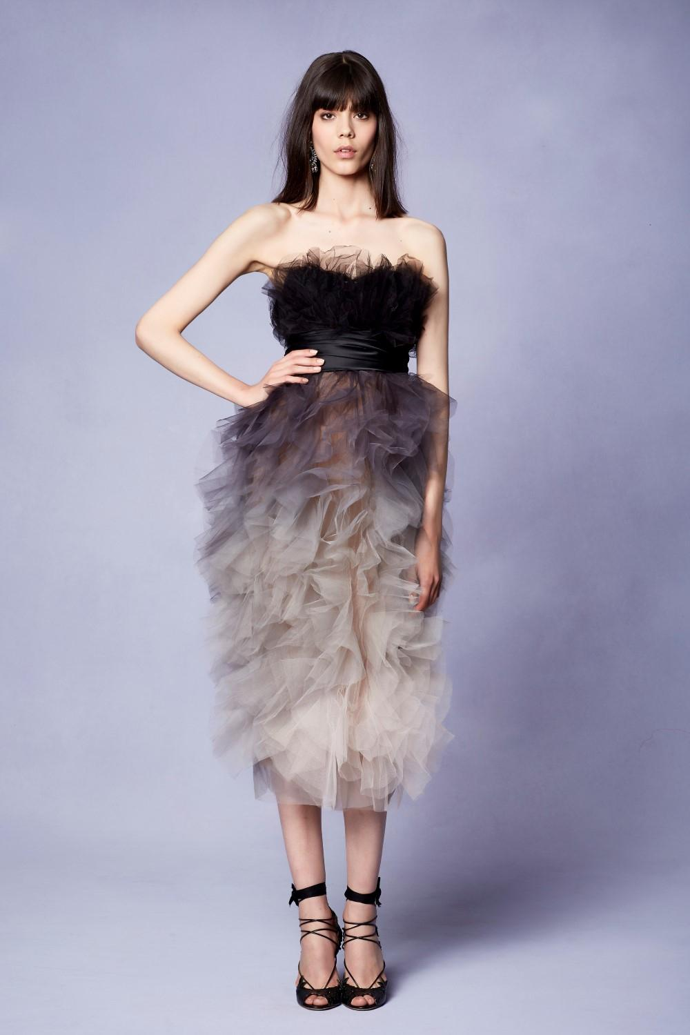 6cb1bbd52a2 Lyst - Marchesa Couture Strapless Ruffled Ombre Tulle Cocktail Dress ...