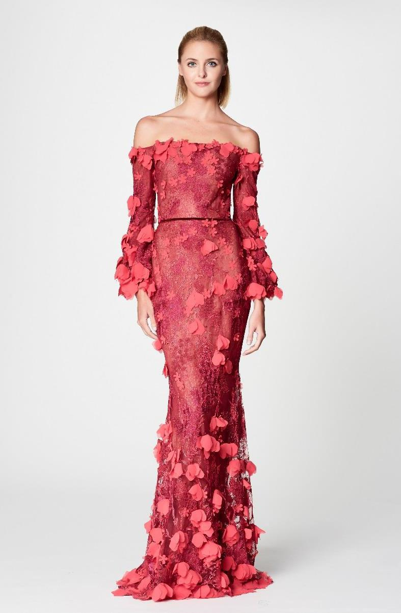 b2caedaf56 Marchesa notte Red Off Shoulder 3d Embroidered Gown in Red - Lyst
