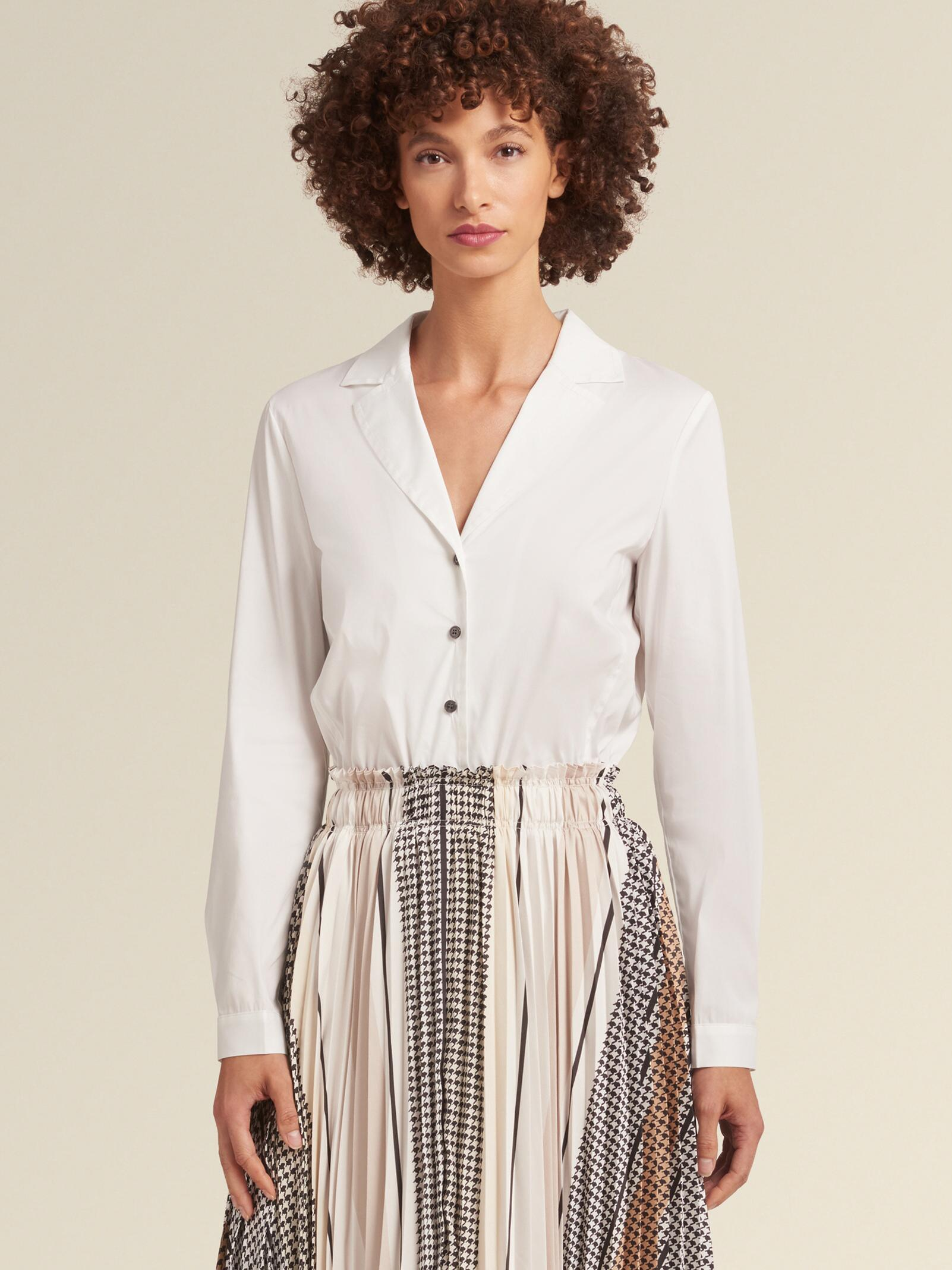 8826ddedb Lyst - DKNY Shirtdress With Pleated Skirt in Natural
