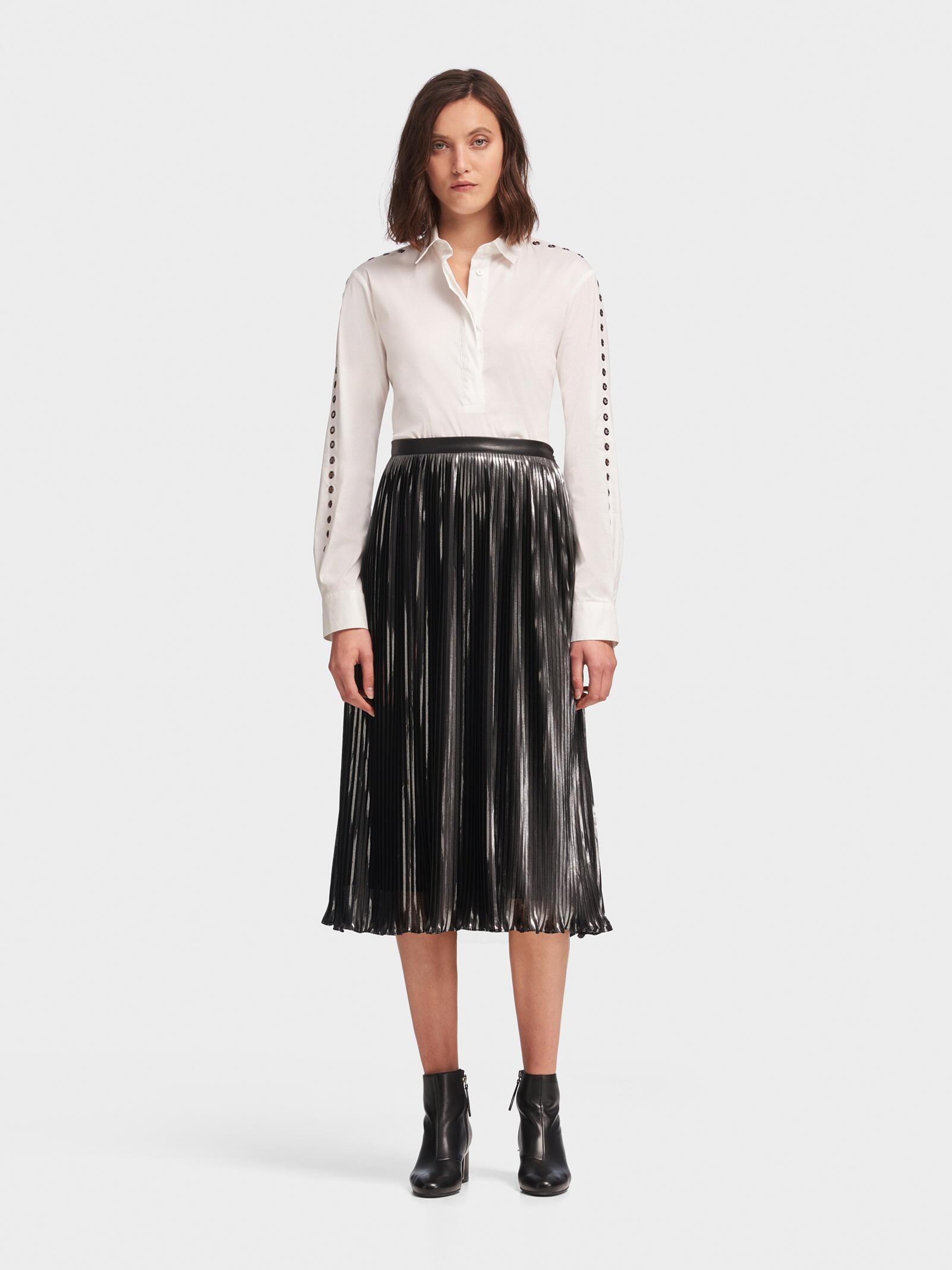 139f66e9e0 DKNY Pleated Metallic Midi Skirt in Black - Lyst