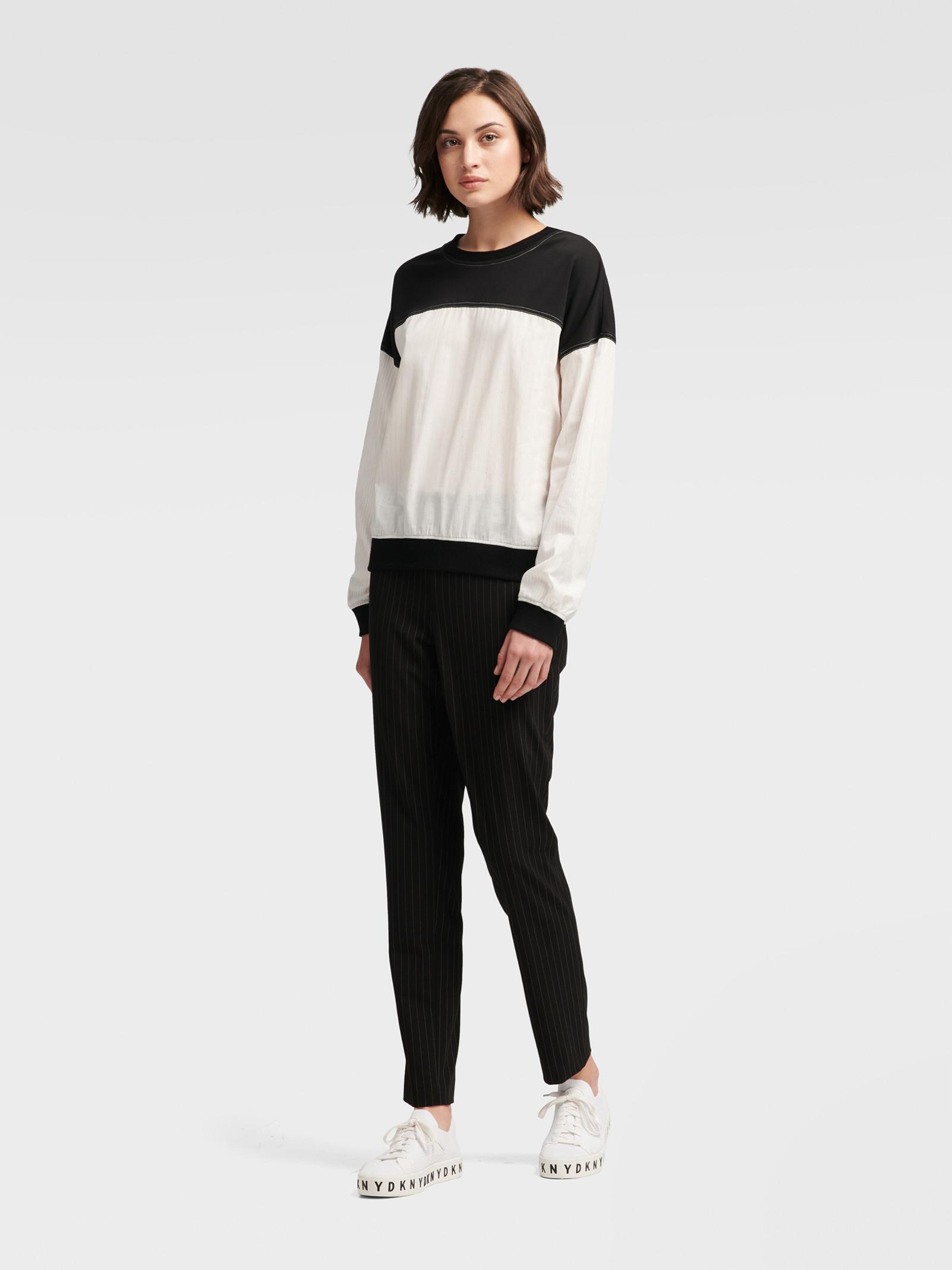 617eaabf03d Lyst - Dkny Mixed-media Colorblock Top in White