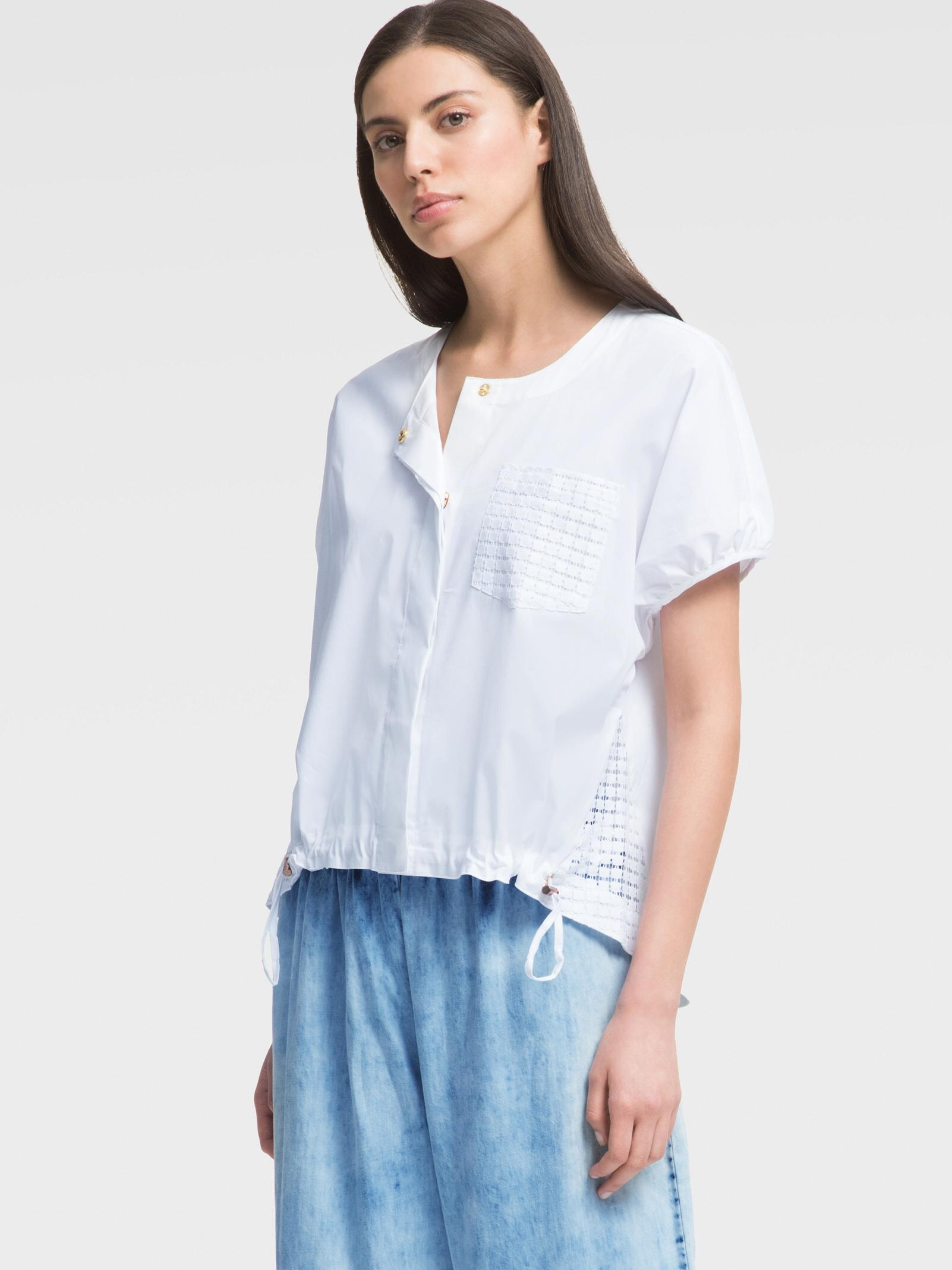 SHORT-SLEEVE POPLIN TOP WITH EYELET DETAIL DKNY Outlet Discount 2018 New Cheap Price Aberdeen Outlet Best Prices iAYzH