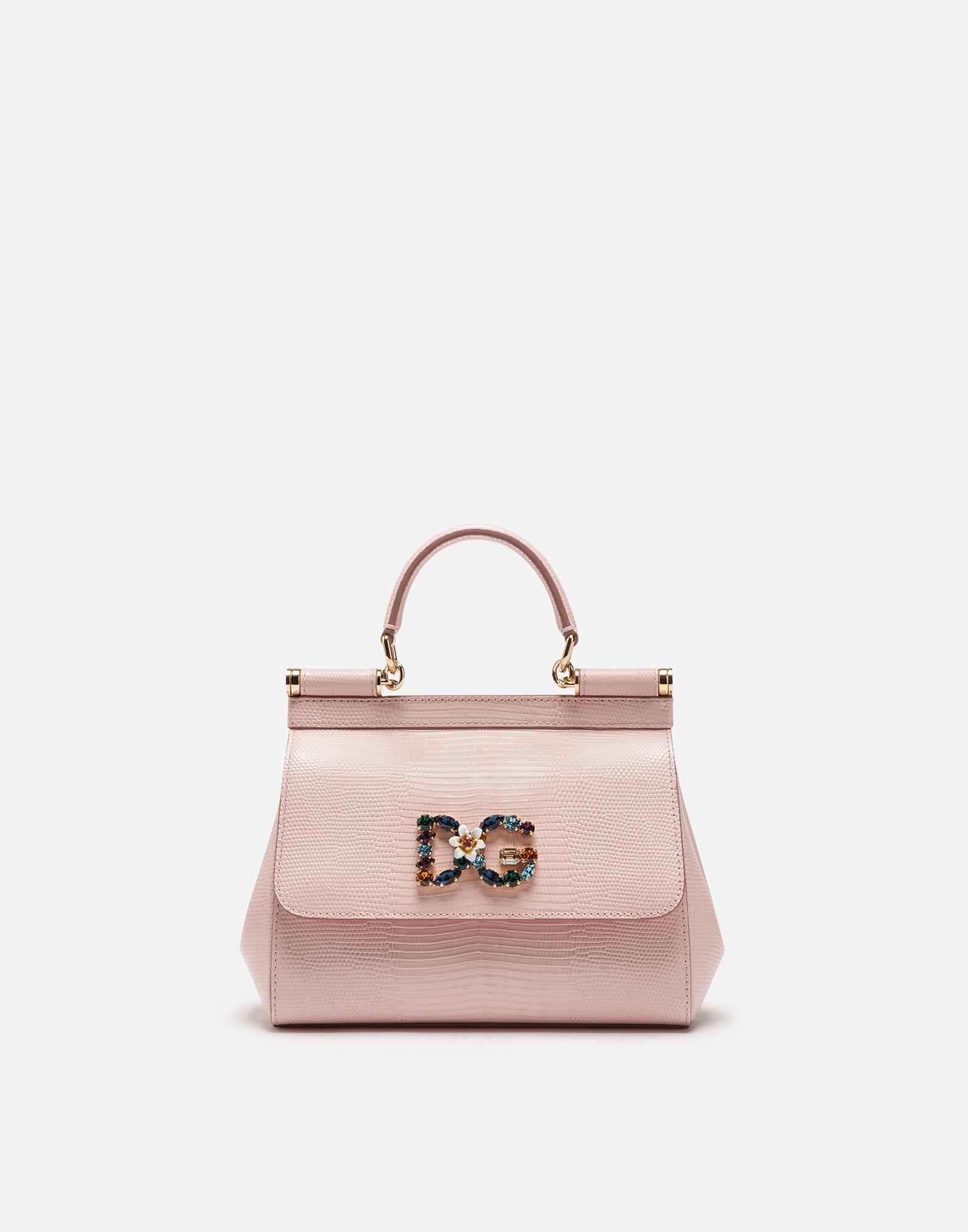 e0d244d582ca Dolce   Gabbana. Women s Pink Small Calfskin Sicily Bag With Iguana-print  And Dg Crystal Logo Patch