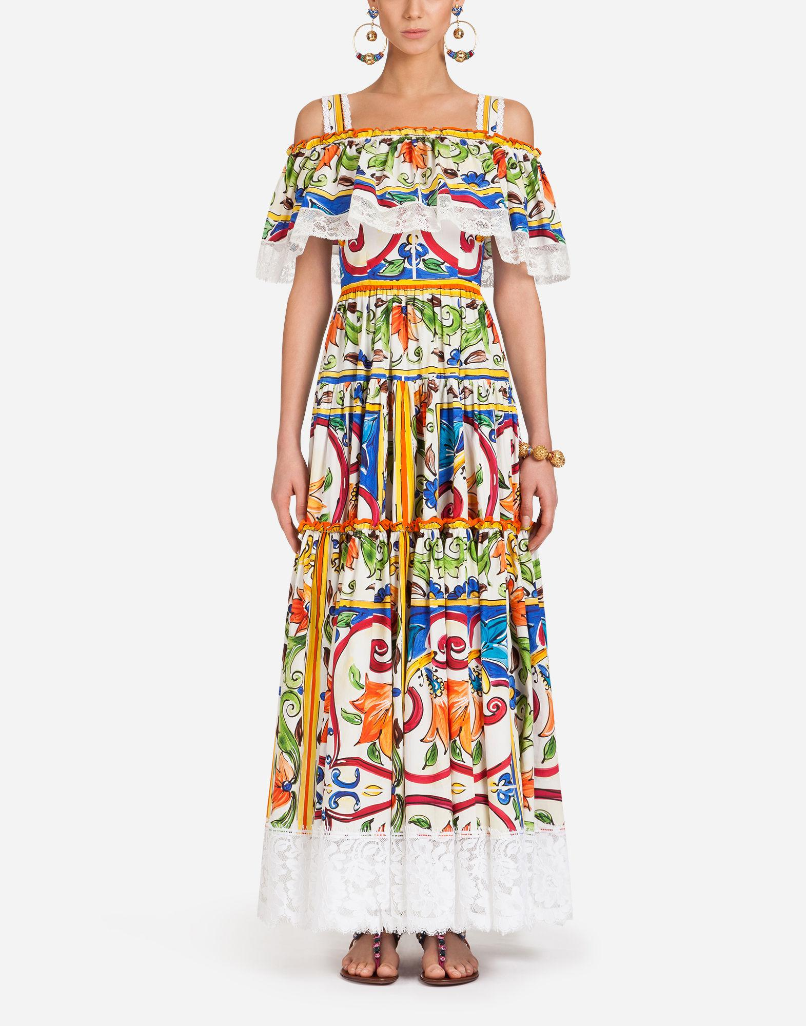 046e30cc Dolce & Gabbana Majolica Print Cotton Long Dress - Lyst