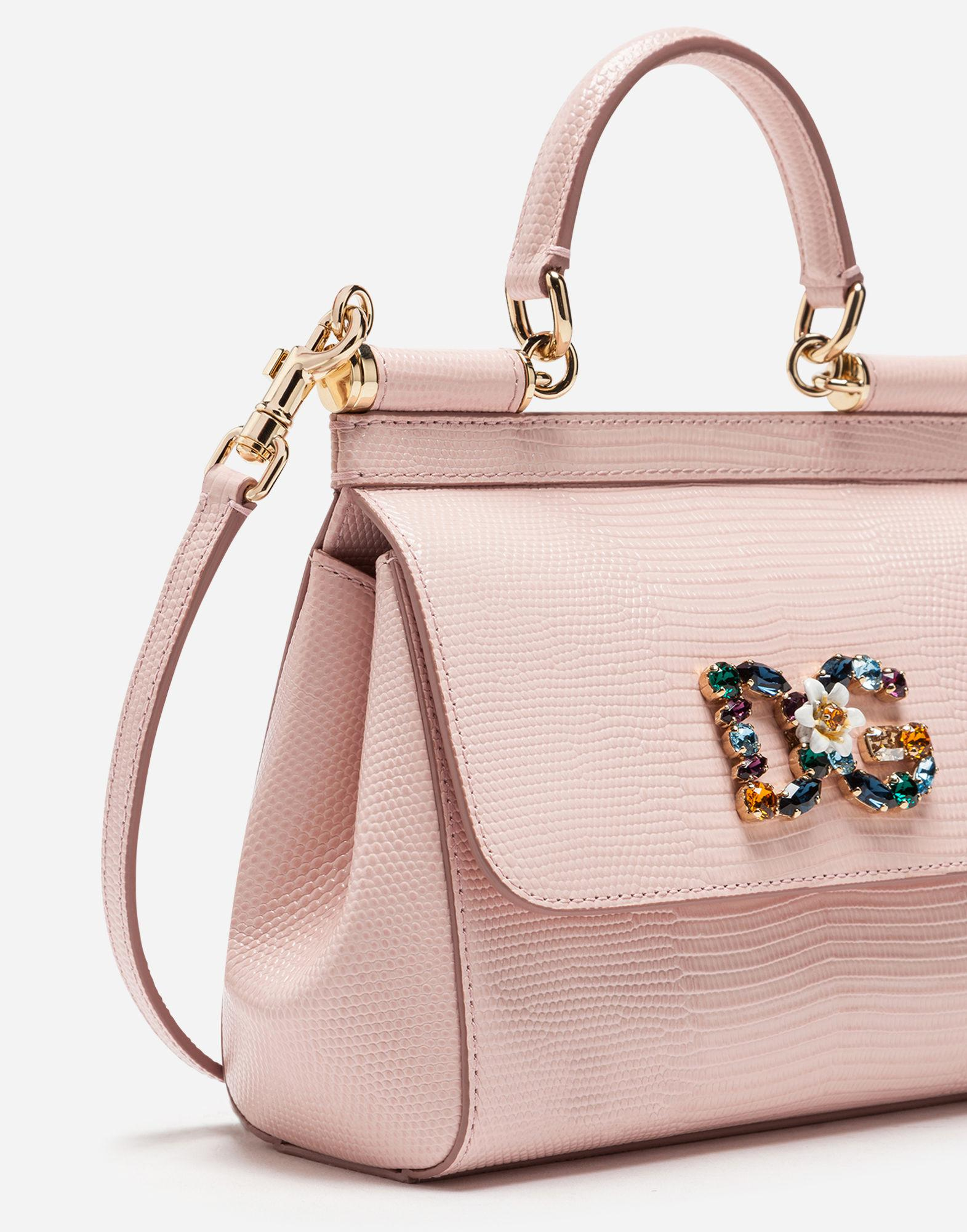 Lyst - Dolce   Gabbana Small Calfskin Sicily Bag With Iguana-print And Dg  Crystal Logo Patch in Pink 62342f121f966