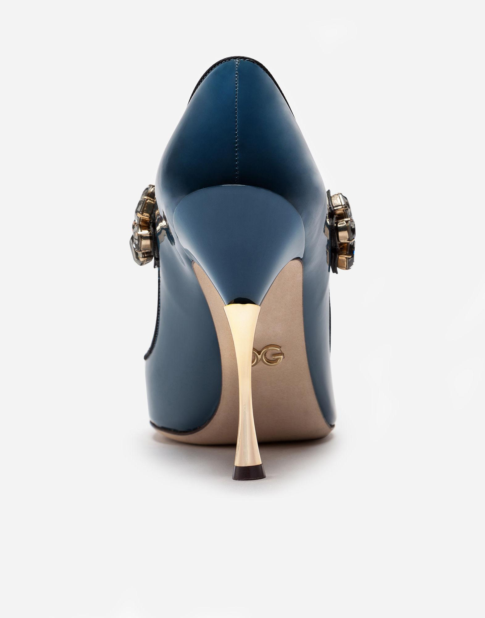 7dea9c89847c Lyst - Dolce   Gabbana Mary Janes In Varnish With Jewel Strap in Blue
