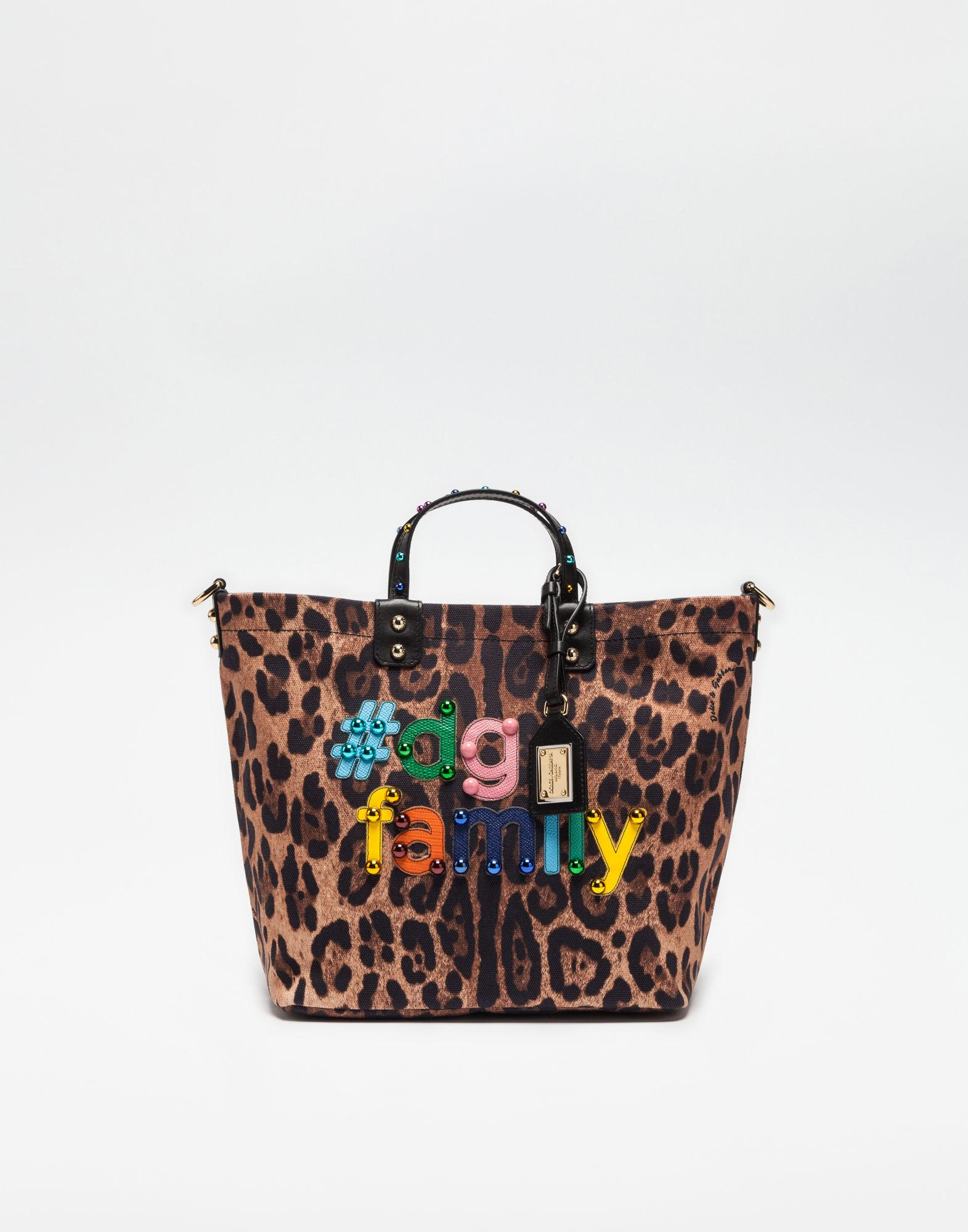 f418d32eba5c Dolce & Gabbana Printed Beatrice Canvas Bag With Dg Family Patch - Lyst