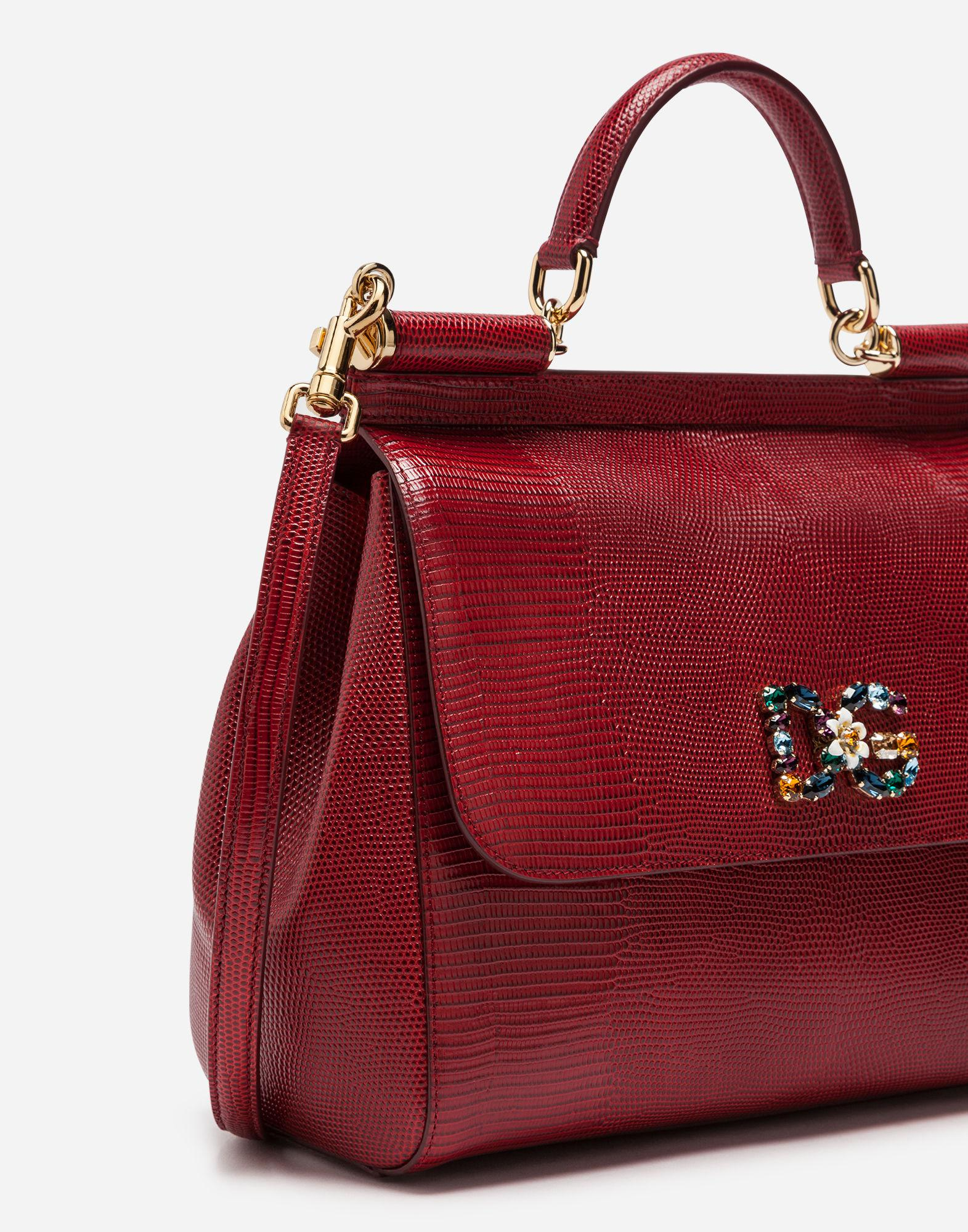 93a6aa597fb6 Lyst - Dolce   Gabbana Sicily Handbag In Iguana Print Calfskin And Crystal  Dg Logo Patch in Red