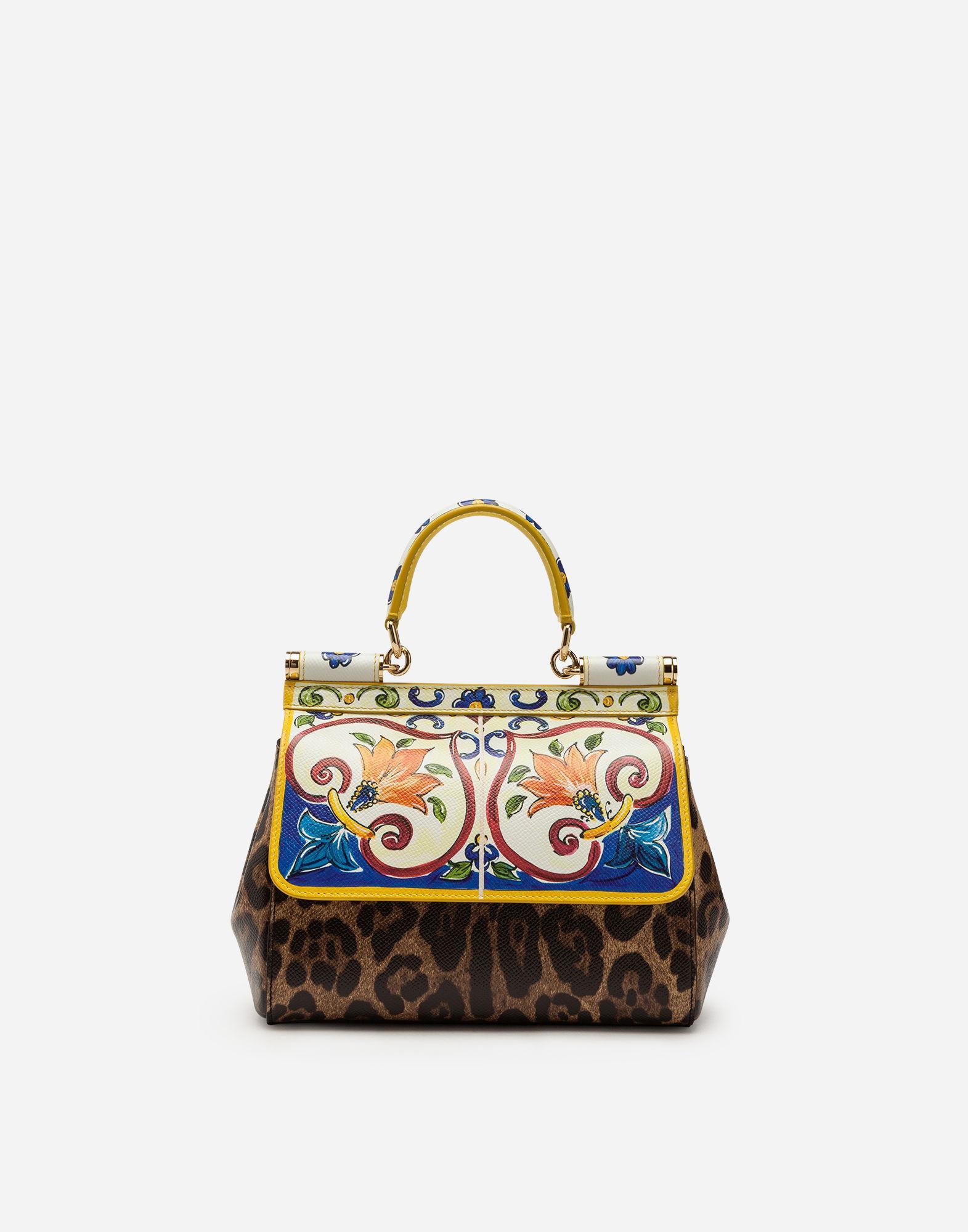 7011923a2444 Dolce   Gabbana Small Sicily Media Bag In Printed Dauphine Calfskin ...