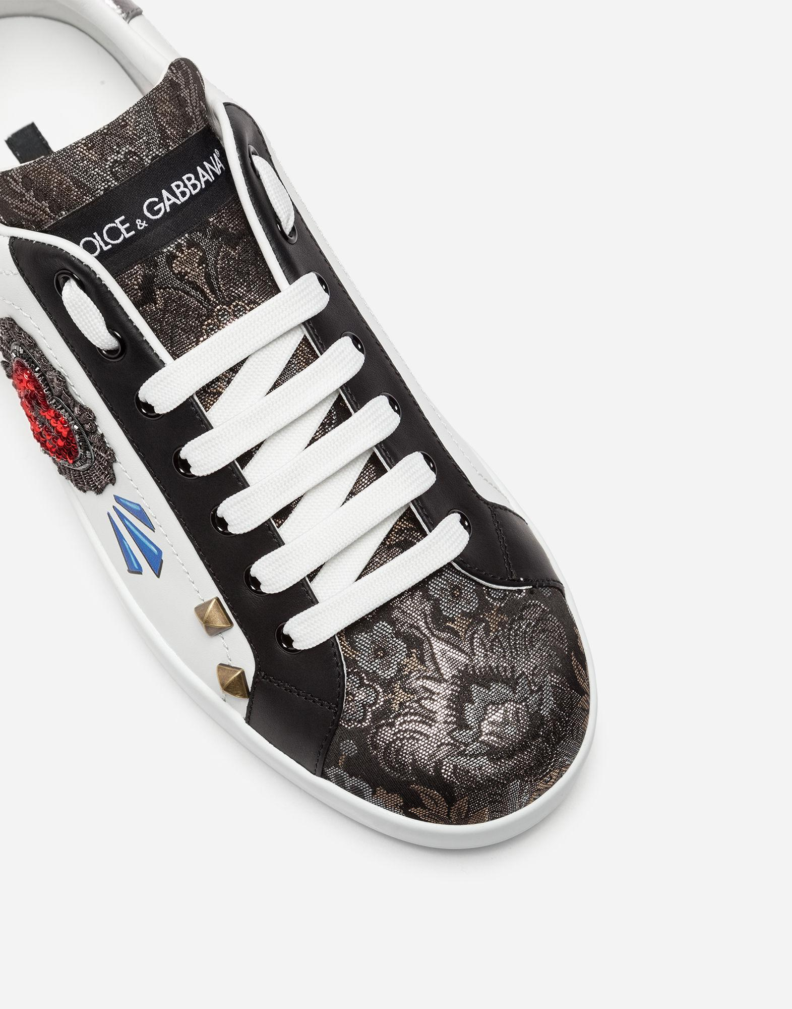44e59c70a3 Lyst - Dolce   Gabbana Portofino Sneakers In A Mix Of Materials With Patch  for Men