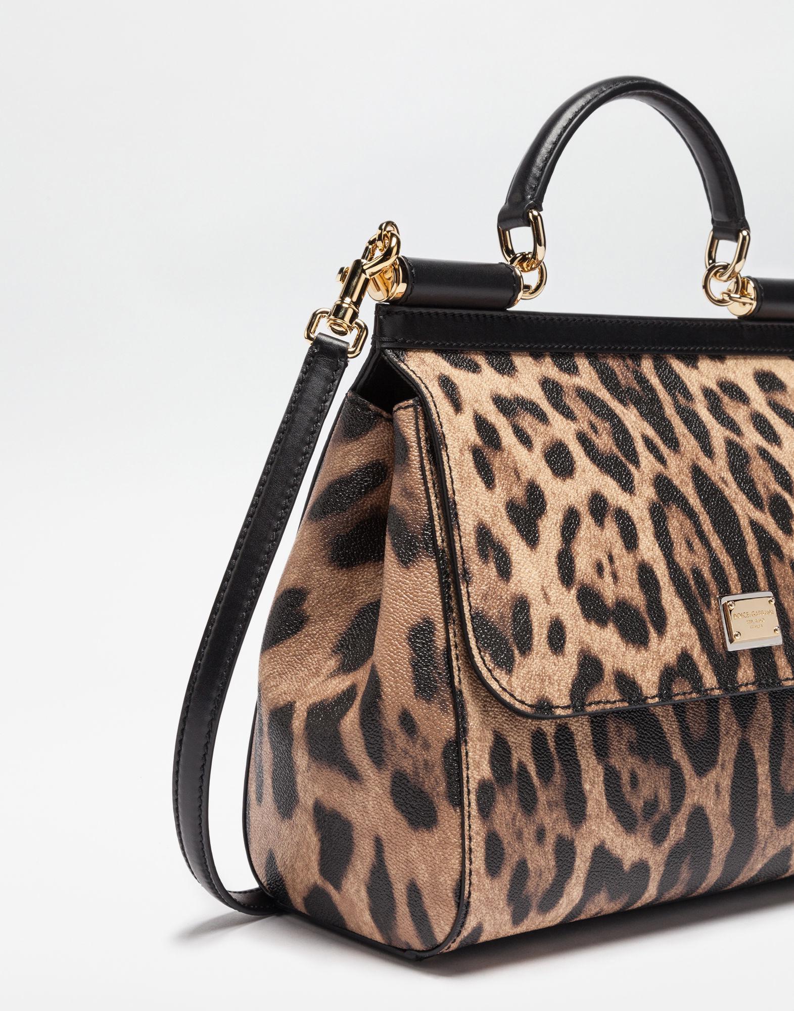 c9037efe99cf Lyst - Dolce   Gabbana Regular Sicily Bag In Leopard Textured Leather in  Brown - Save 22%