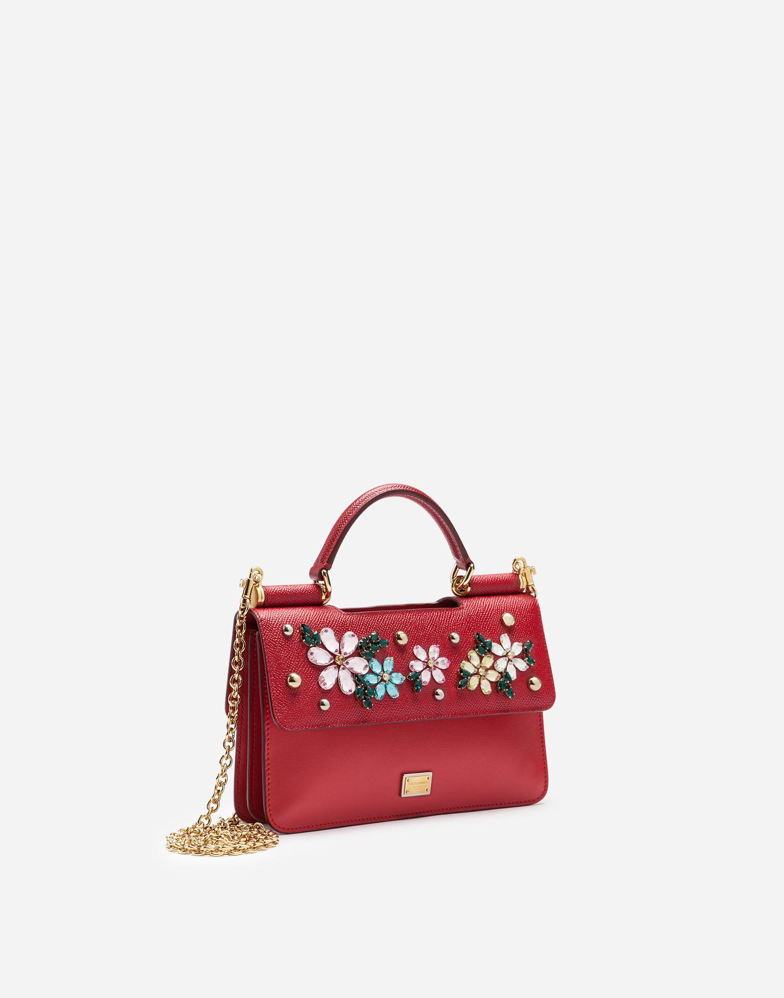 62d7428aa14 Lyst - Dolce   Gabbana Sicily Mini Bag In Dauphine Calfskin With Embroidery  in Red
