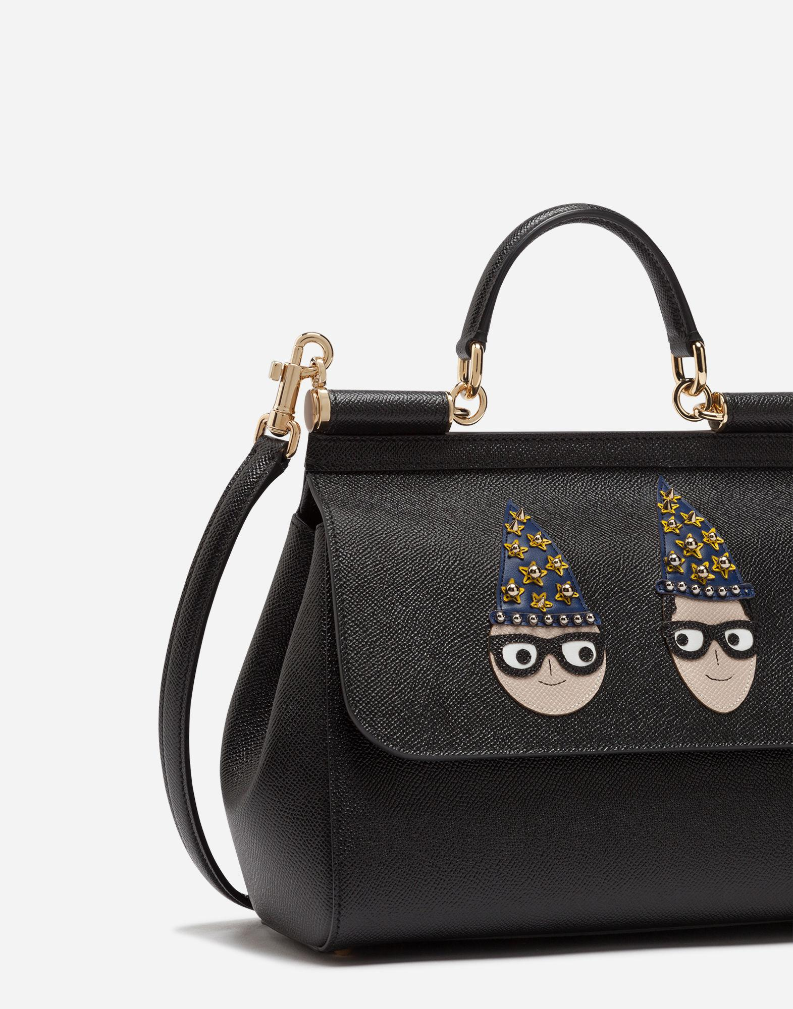 e855169249 Lyst - Dolce   Gabbana Medium Sicily Bag In Dauphine Calfskin With Patches  Of The Designers in Black