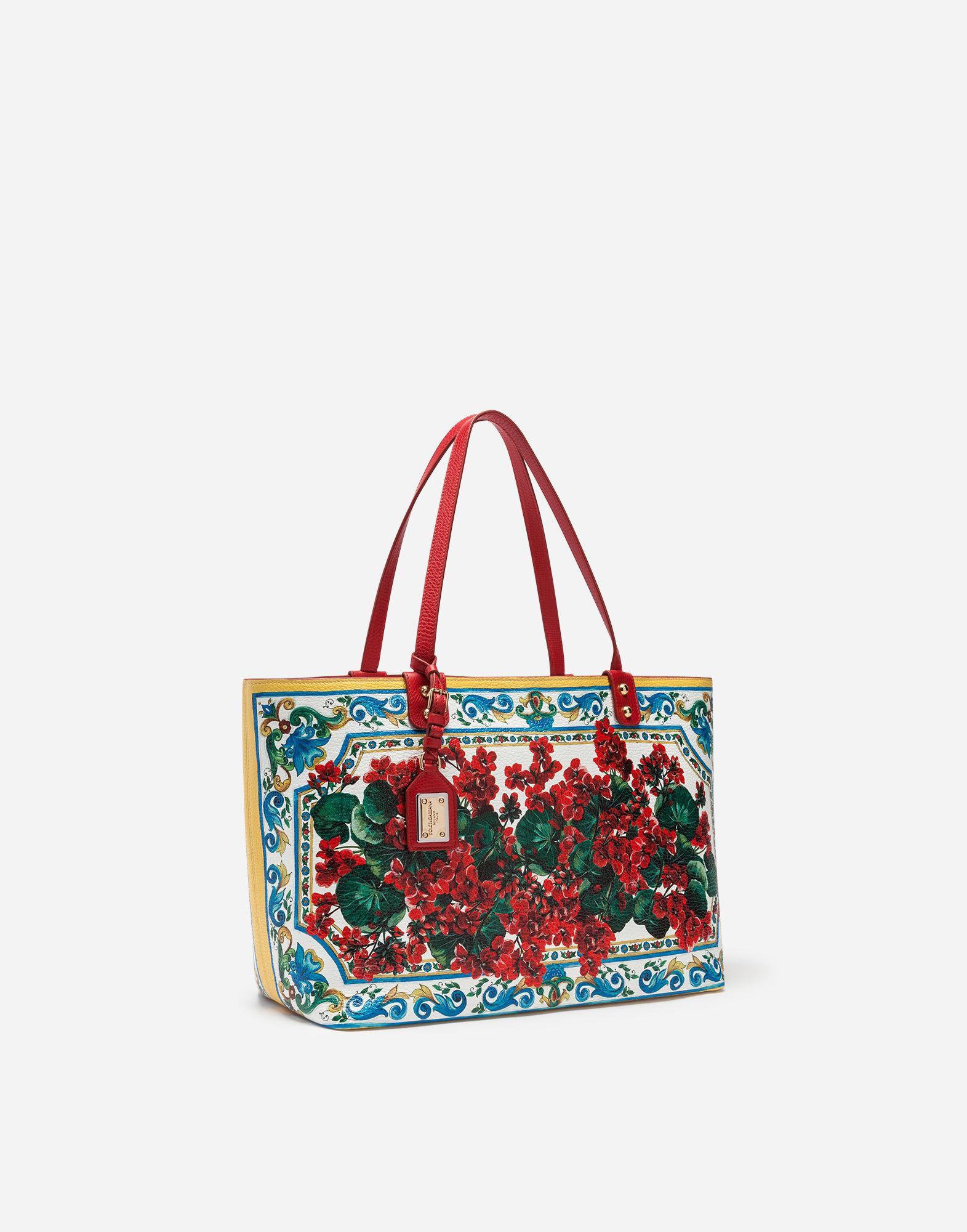 a9384b1c5d18 Lyst - Dolce   Gabbana Beatrice Shopping Bag In Printed Calfskin in Red