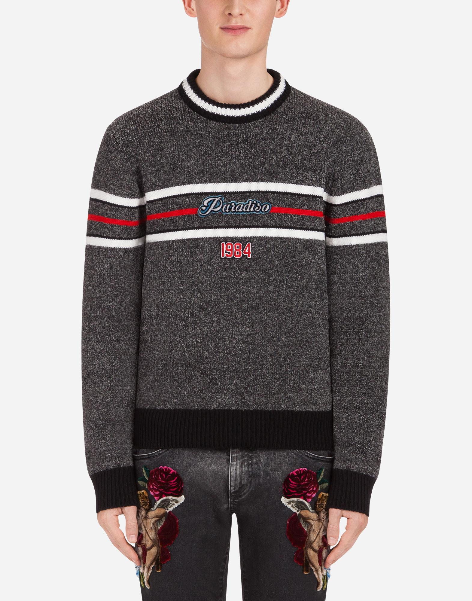 650da29db878 Lyst - Dolce   Gabbana Blended Wool Knit With Patch in Gray for Men