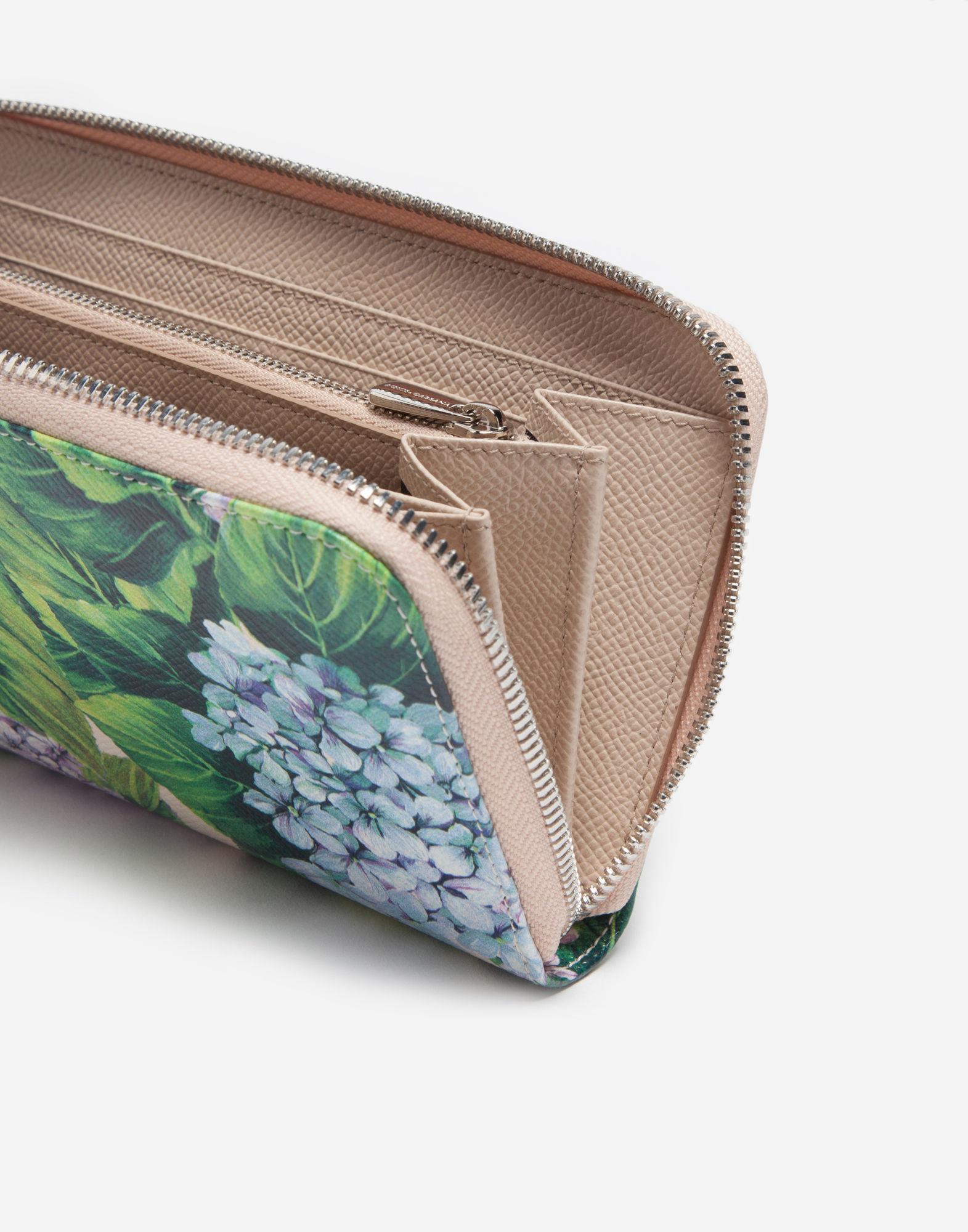 2ef813abad Dolce & Gabbana Zip-around Printed Dauphine Leather Wallet - Lyst