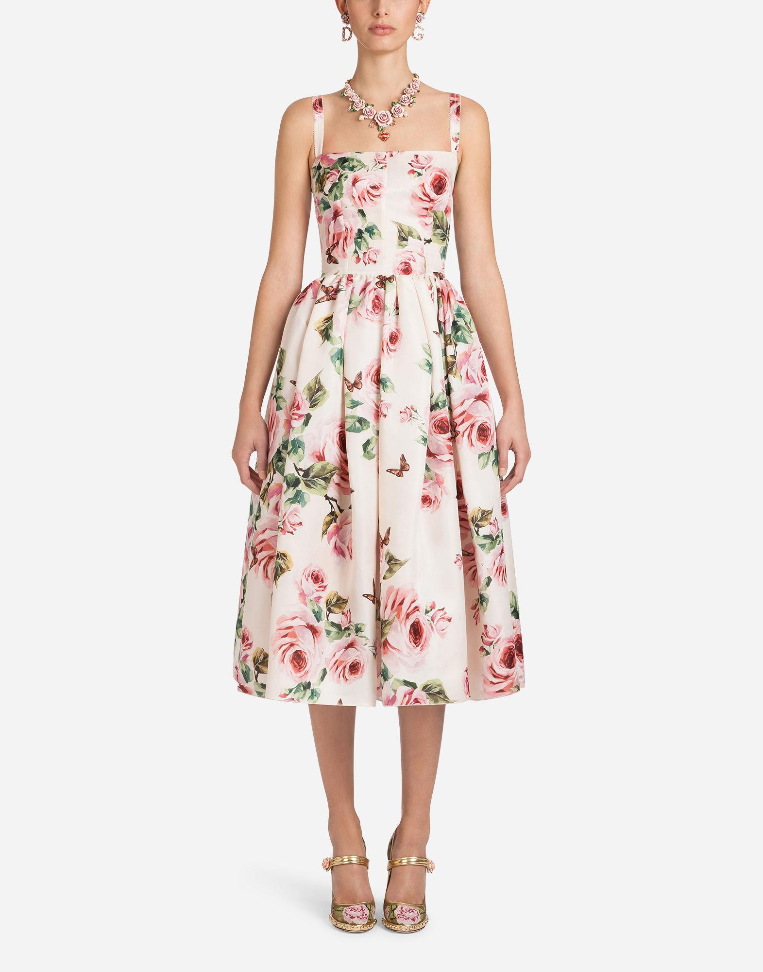 Lyst - Dolce   Gabbana Silk Organza Print Dress in Pink d47e82698