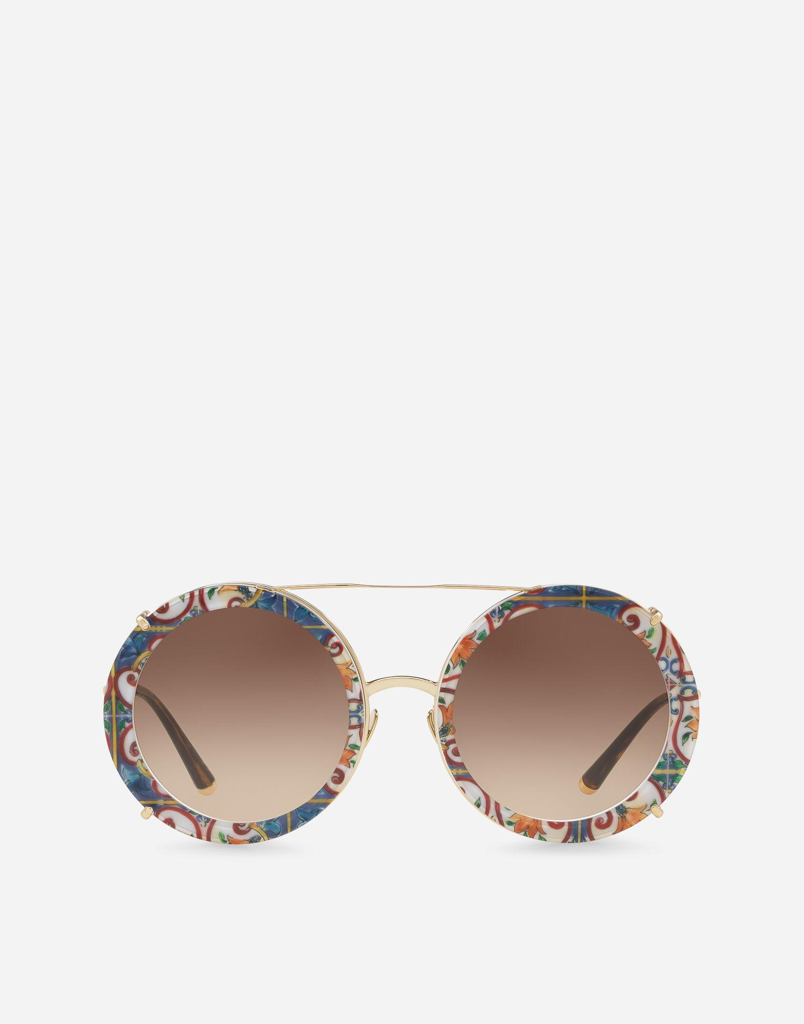 f1348ce8670 Dolce   Gabbana. Women s Metallic Round Clip-on Sunglasses In Gold Metal In  Majolica Print