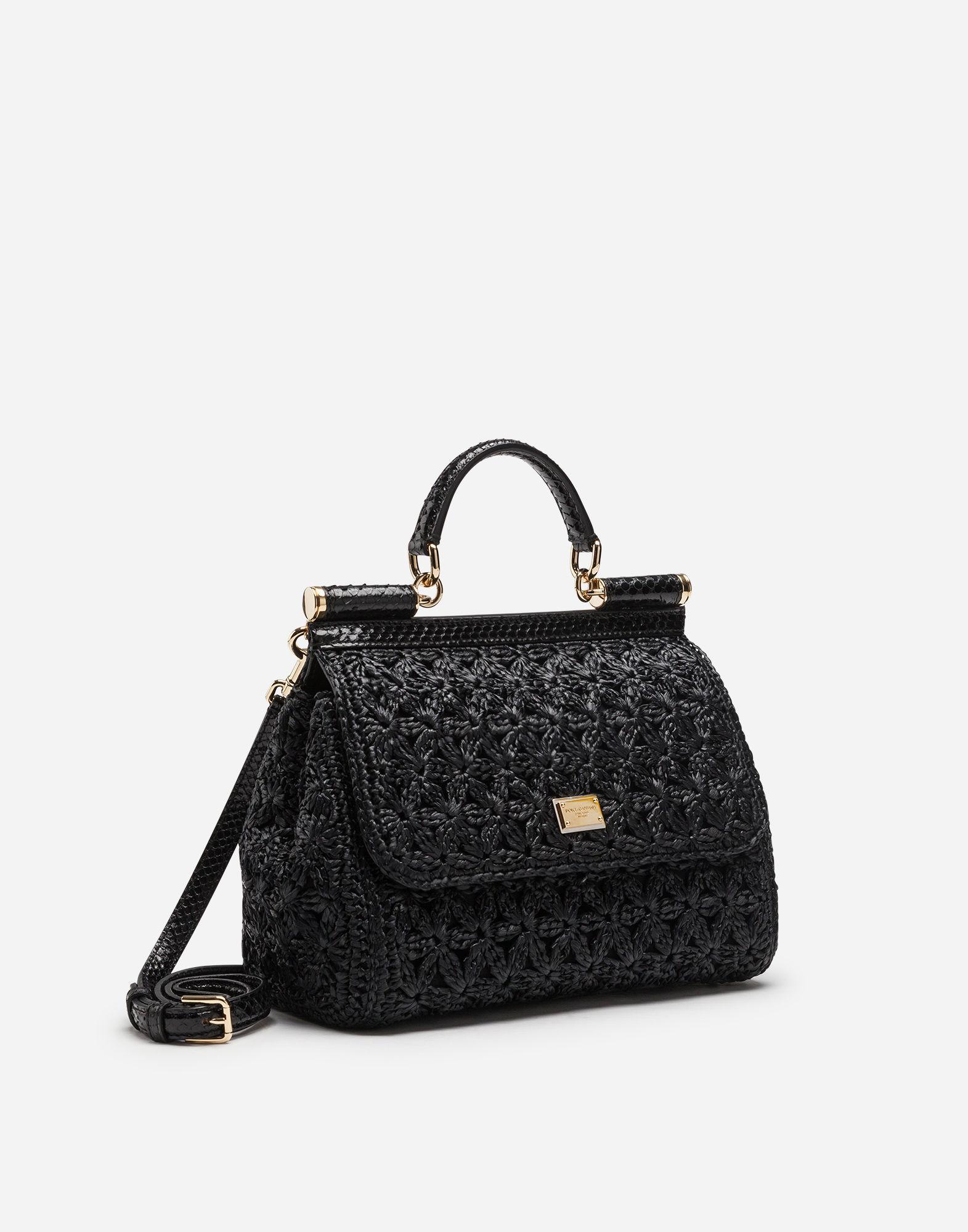 78e47ce12504 Lyst - Dolce   Gabbana Medium Raffia Crochet Sicily Bag in Black - Save 7%