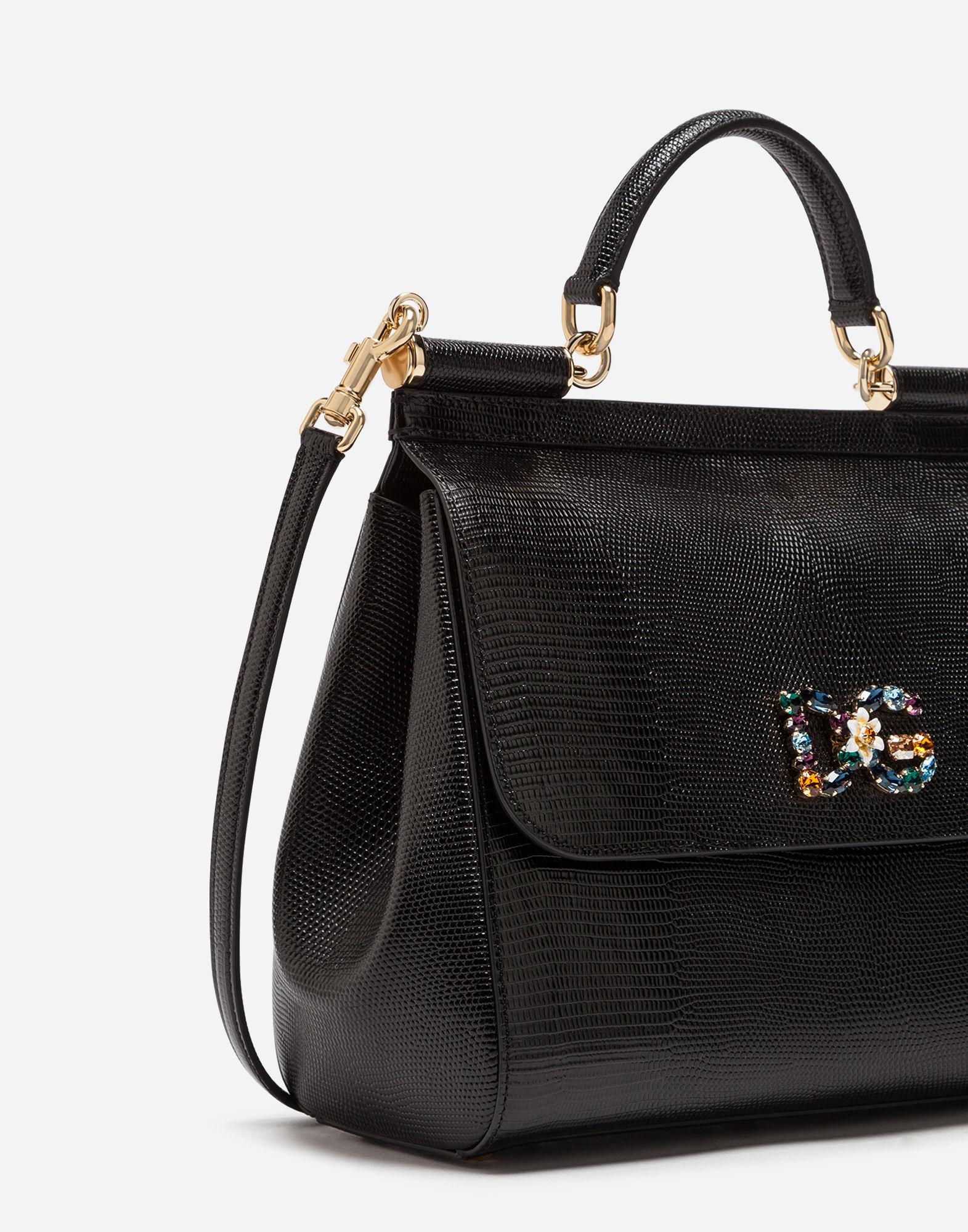 Lyst - Dolce   Gabbana Sicily Handbag In Iguana Print Calfskin And Crystal  Dg Logo Patch in Black - Save 30% ed6755a12cc1b