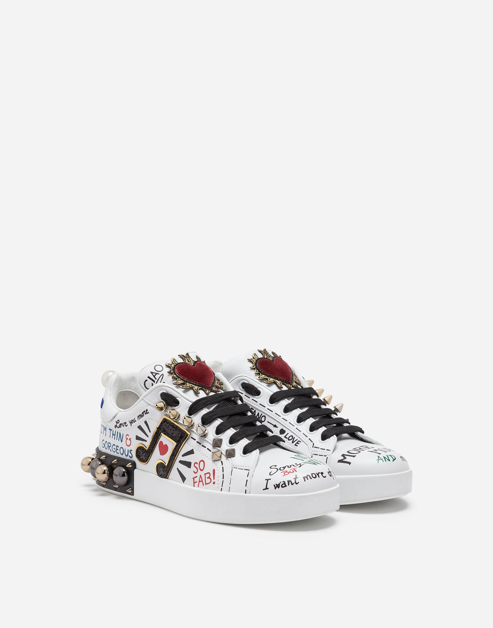 8e1e784b86ff Dolce   Gabbana. Women s White Sneakers In Printed Leather With Applications