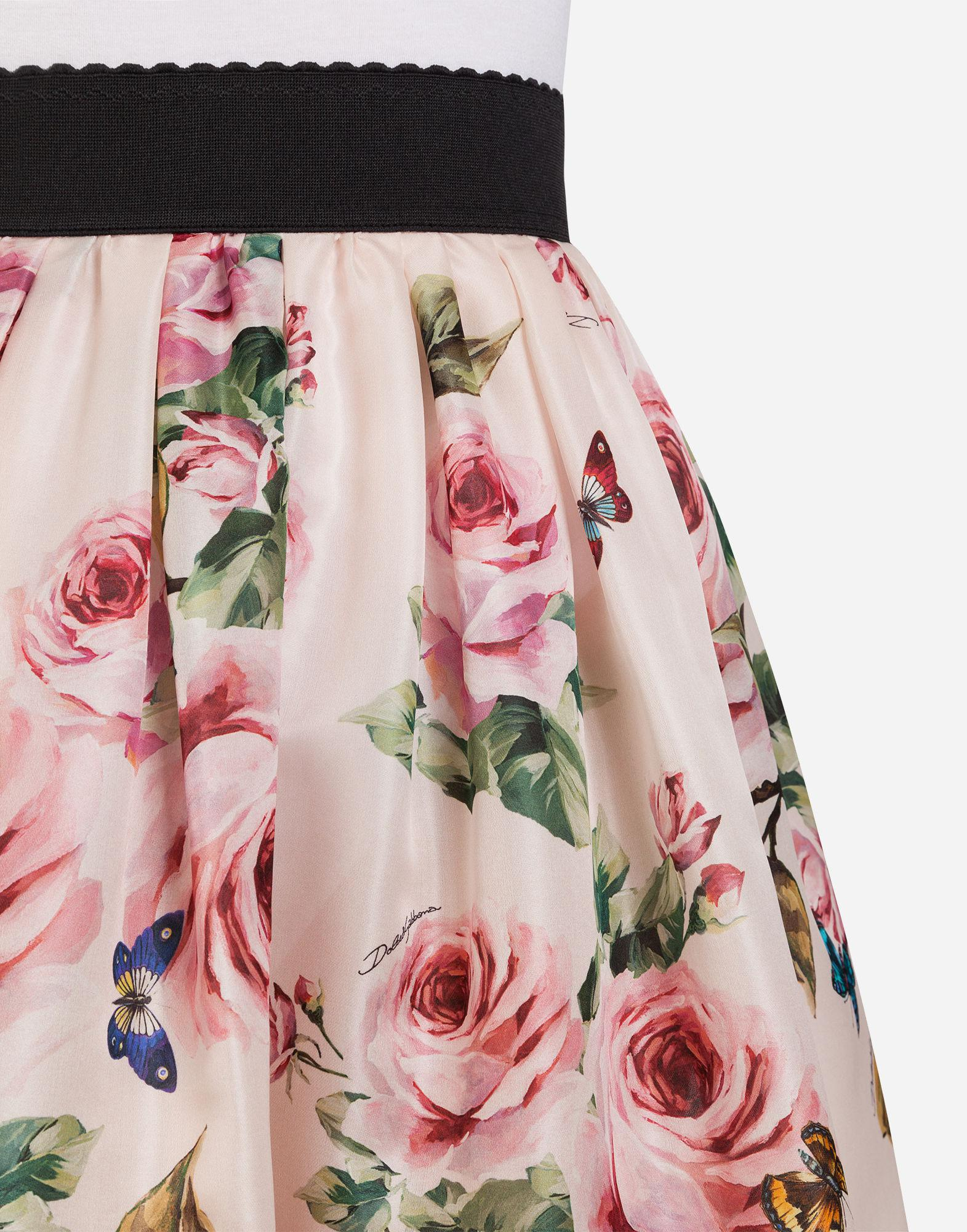 bfc1f36e897d Lyst - Dolce & Gabbana Silk Organza Print Full Skirt in Pink