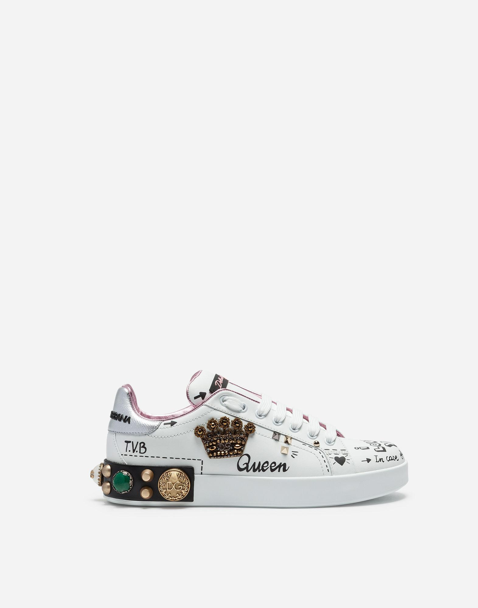 2458b6abf8dd Dolce   Gabbana - White Printed Calfskin Portofino Sneakers With Patch And  Embroidery - Lyst. View fullscreen