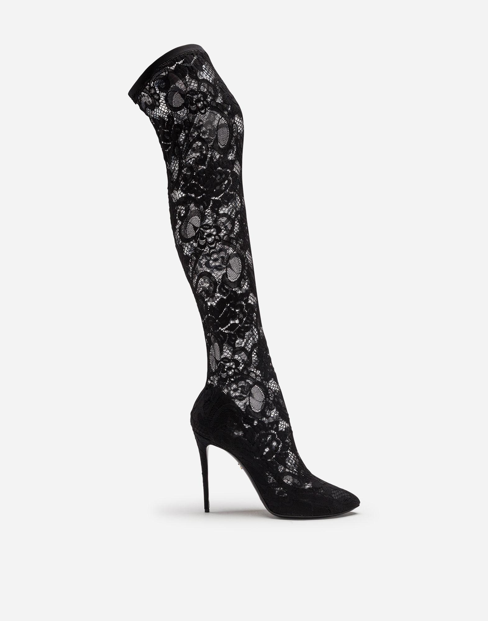 2a7e5f5916c Lyst - Dolce   Gabbana Stretch Lace And Gros Grain Boots in Black ...