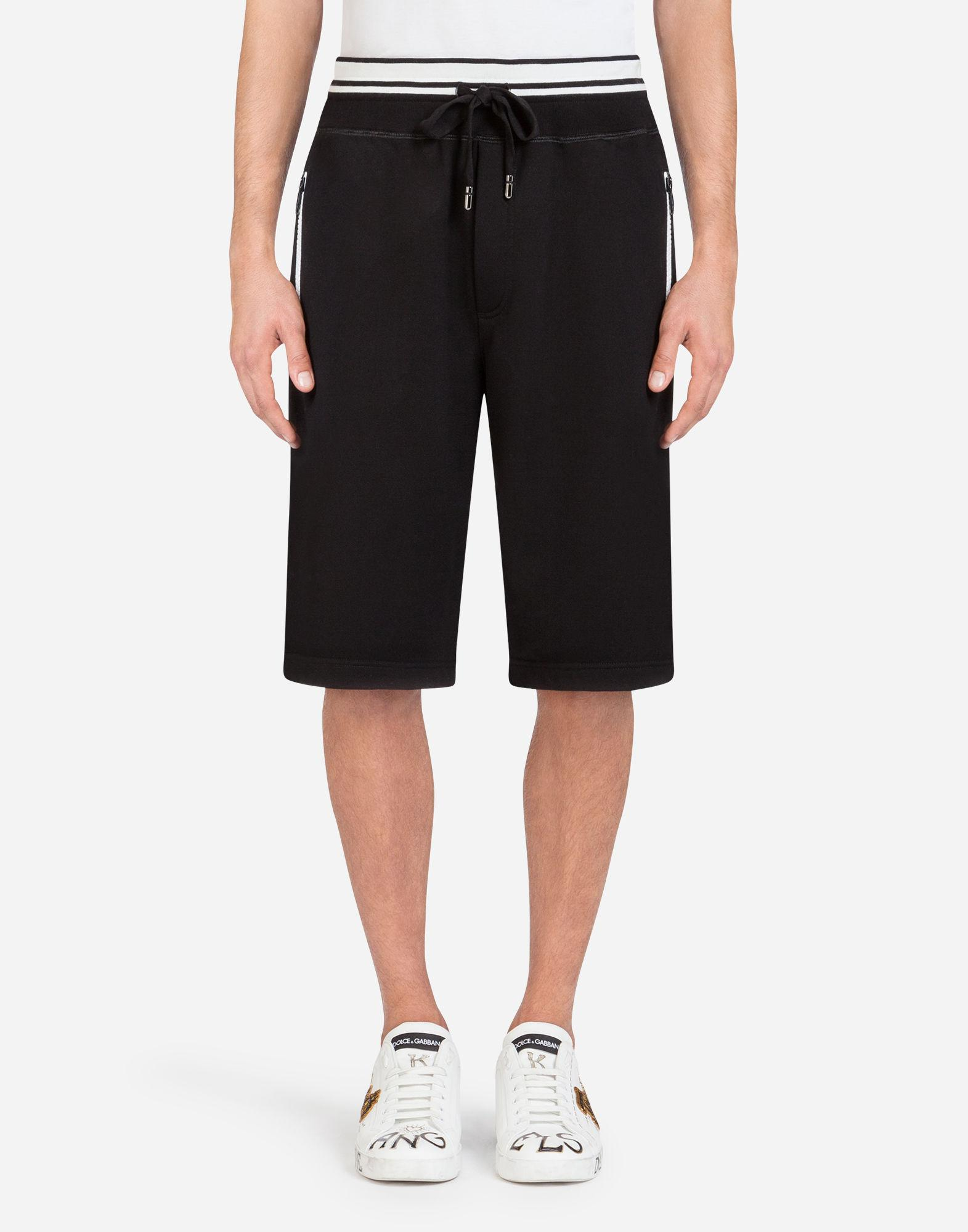 2cd70e6f51d Lyst - Dolce   Gabbana Cotton JOGGING Shorts With Print in Black for Men