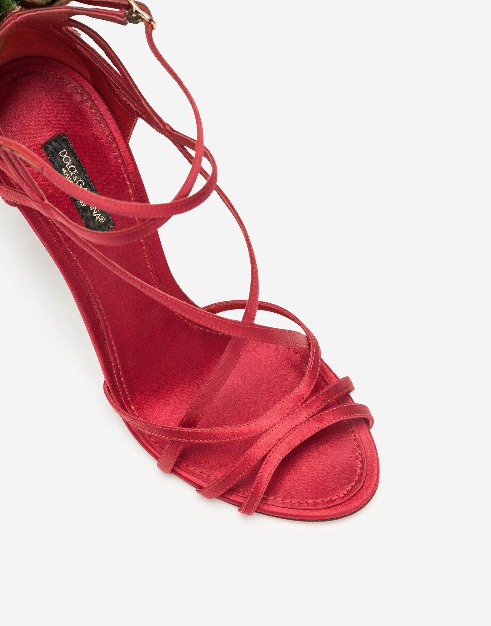 a5f96c8da7f Lyst - Dolce   Gabbana Satin Sandals With Embroidery in Red