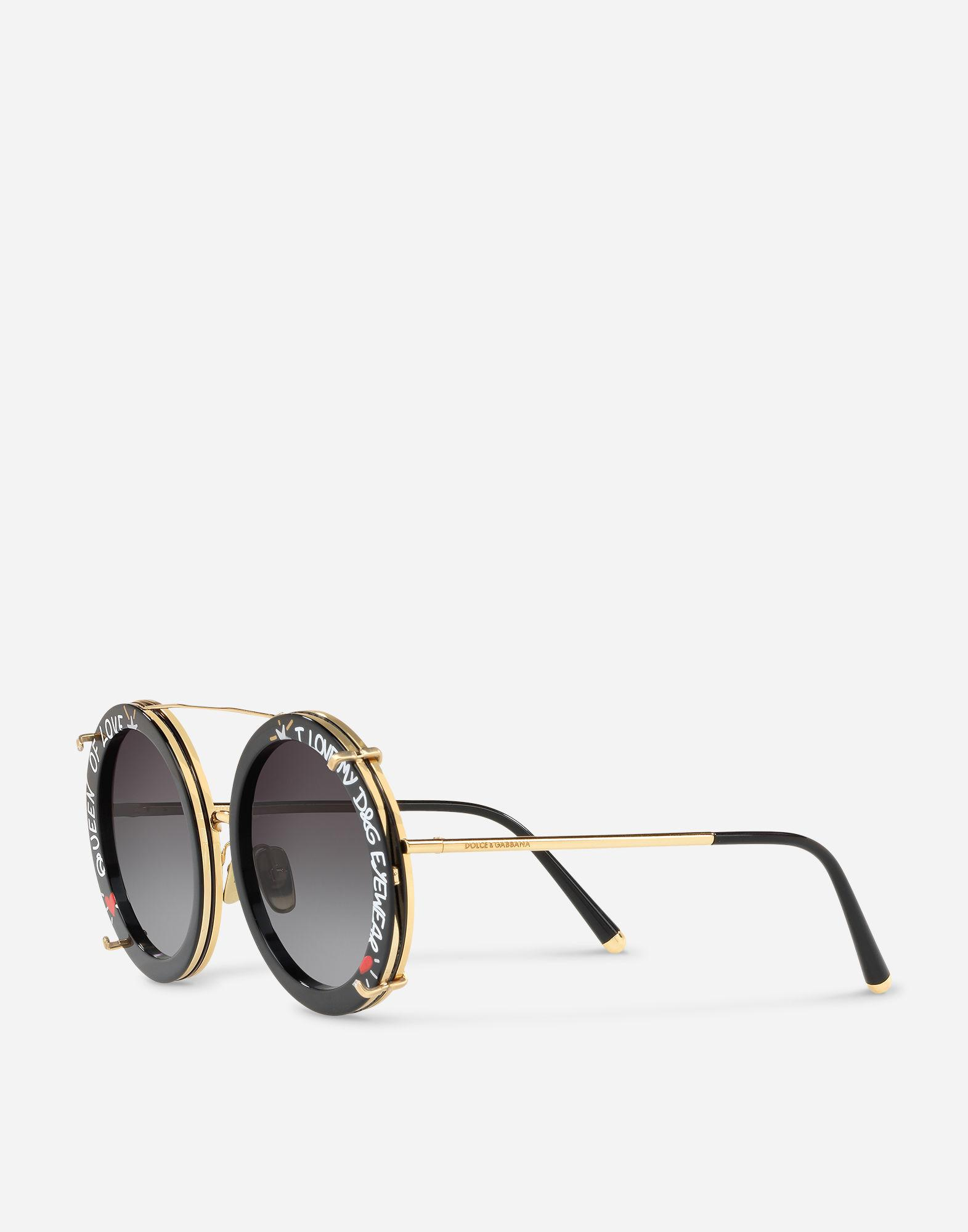 e9495483416 Lyst - Dolce   Gabbana Round Clip-on Sunglasses In Gold Metal With Graffiti  Print in Metallic