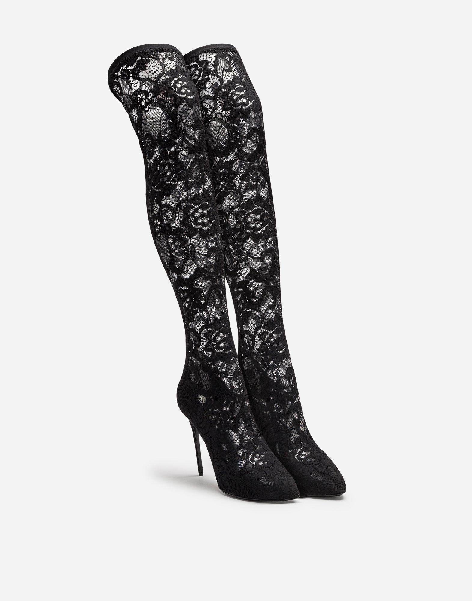 5055eb13dc3 Lyst - Dolce   Gabbana Stretch Lace And Gros Grain Boots in Black - Save 17%