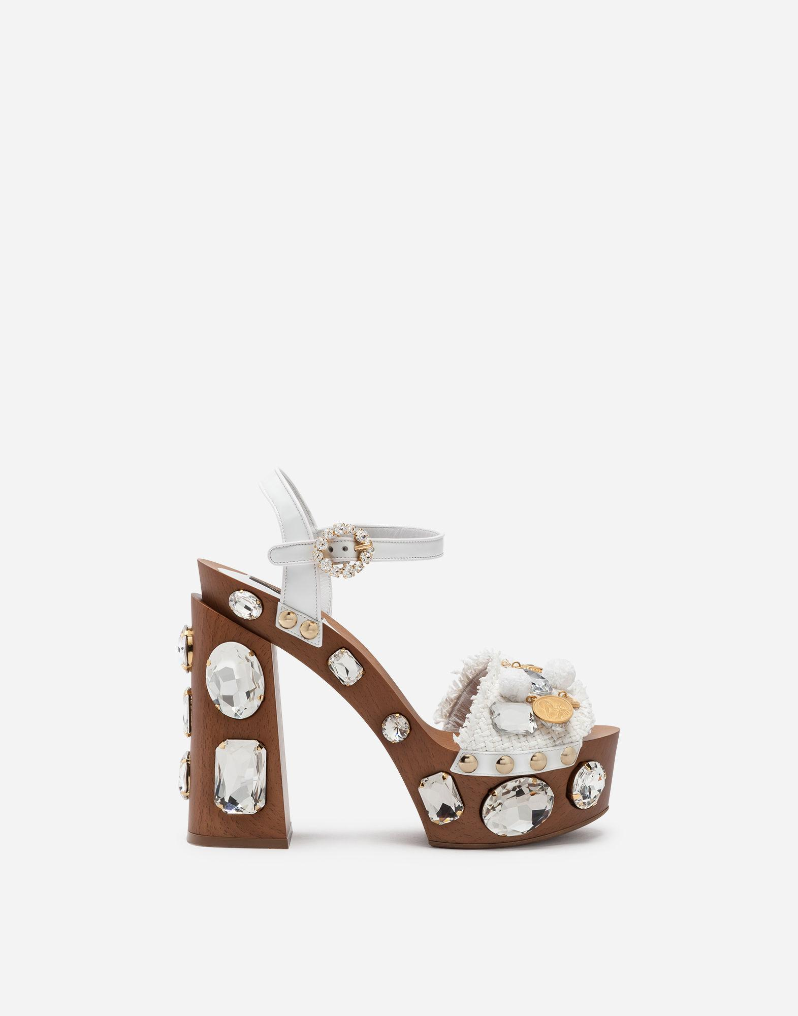 6963e5b2f4d6 Lyst - Dolce   Gabbana Sandals In Raffia With Platform And Jewel ...