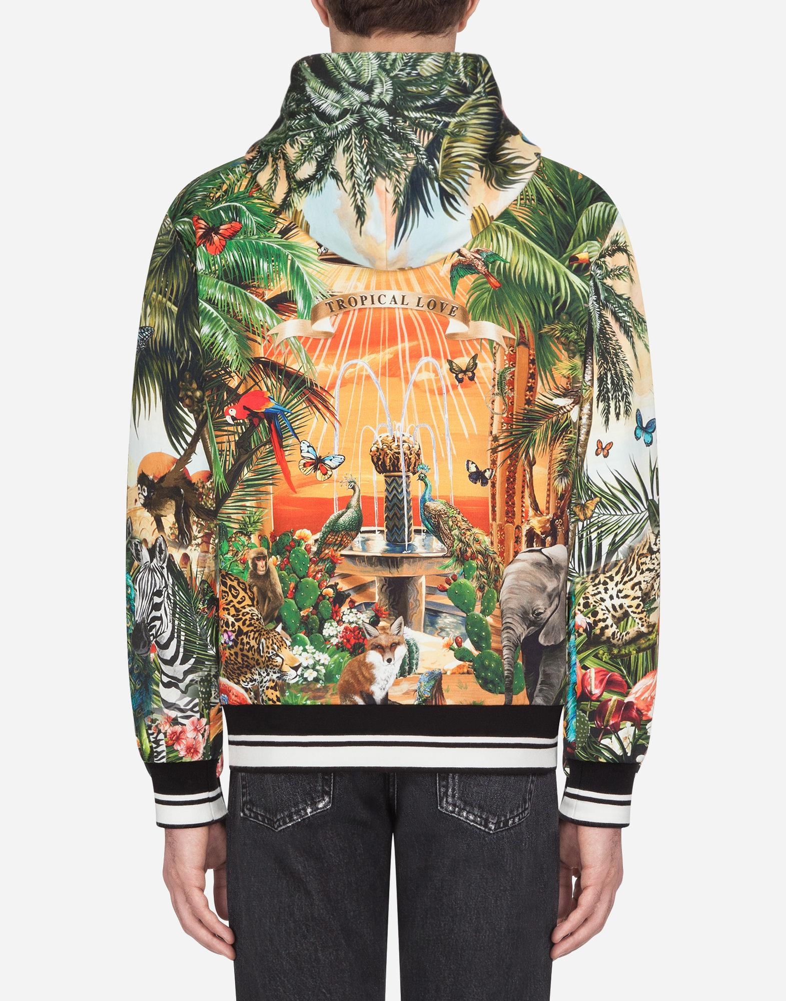996b79f2 Dolce & Gabbana Cotton Hoodie With Tropical Dg King Print for Men - Lyst