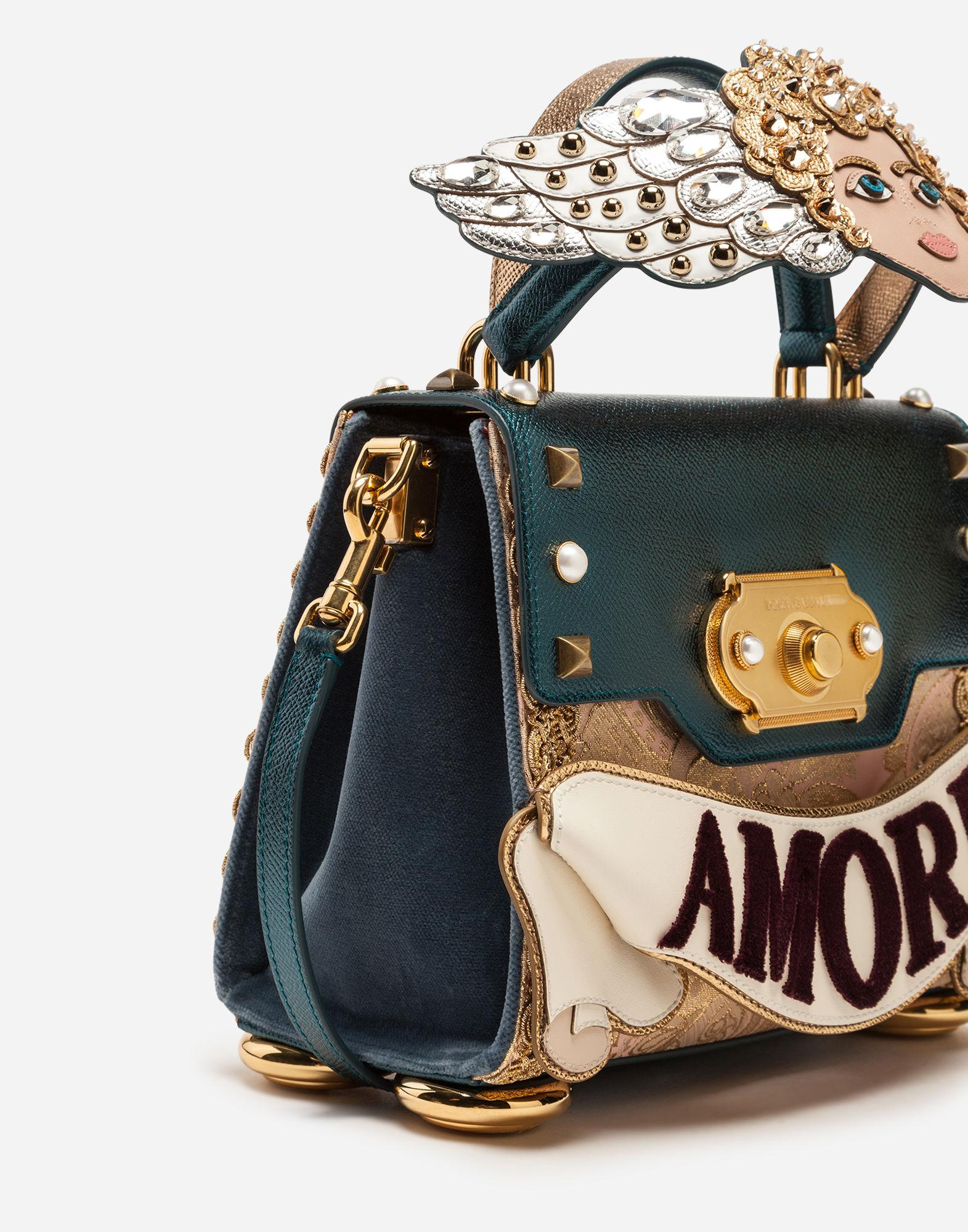 Lyst Dolce Gabbana Medium Welcome Handbag In A Mix Of Materials With Patch And Embroideries