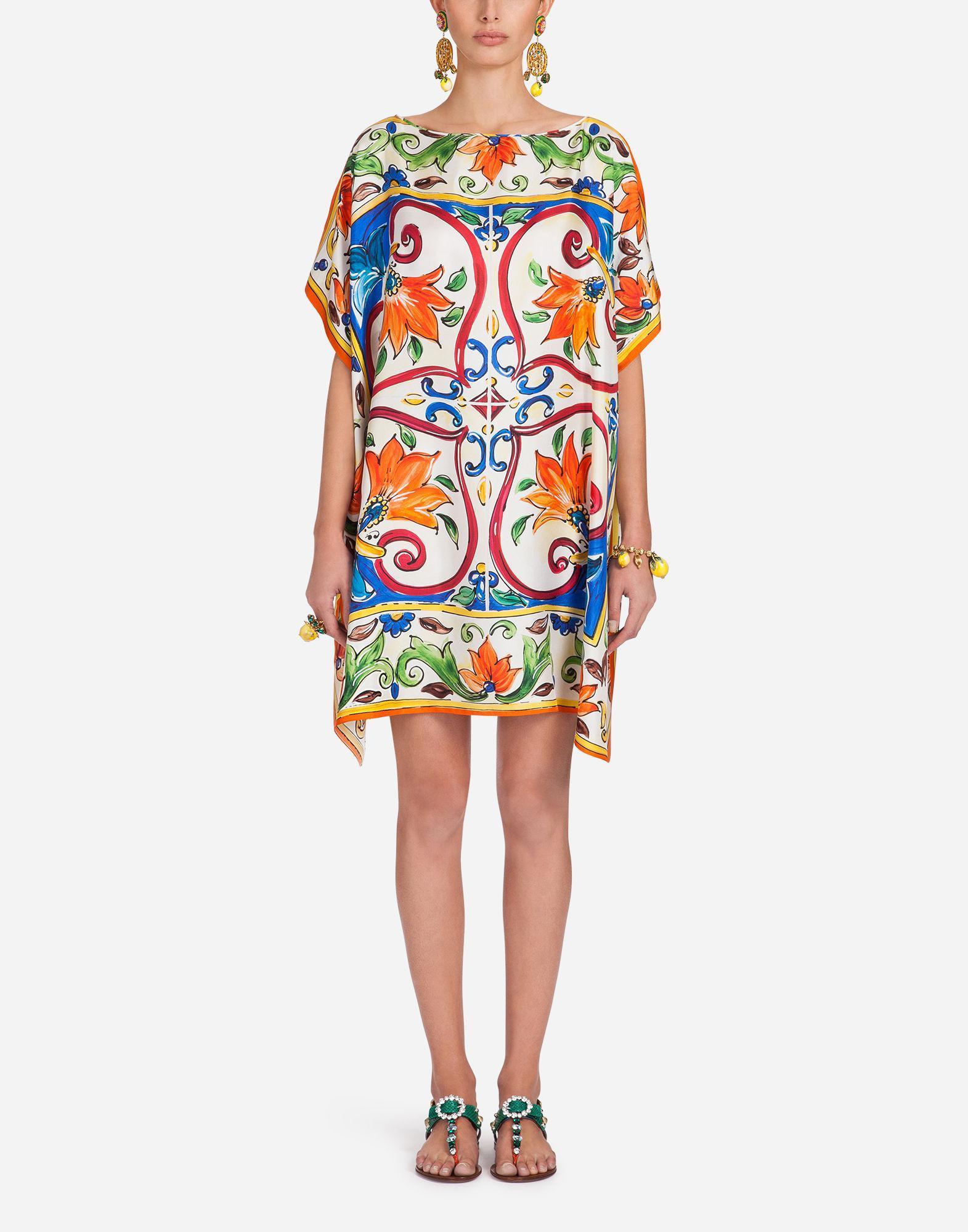 877d4aa589ebc Lyst - Dolce   Gabbana Kaftan In Printed Silk Twill