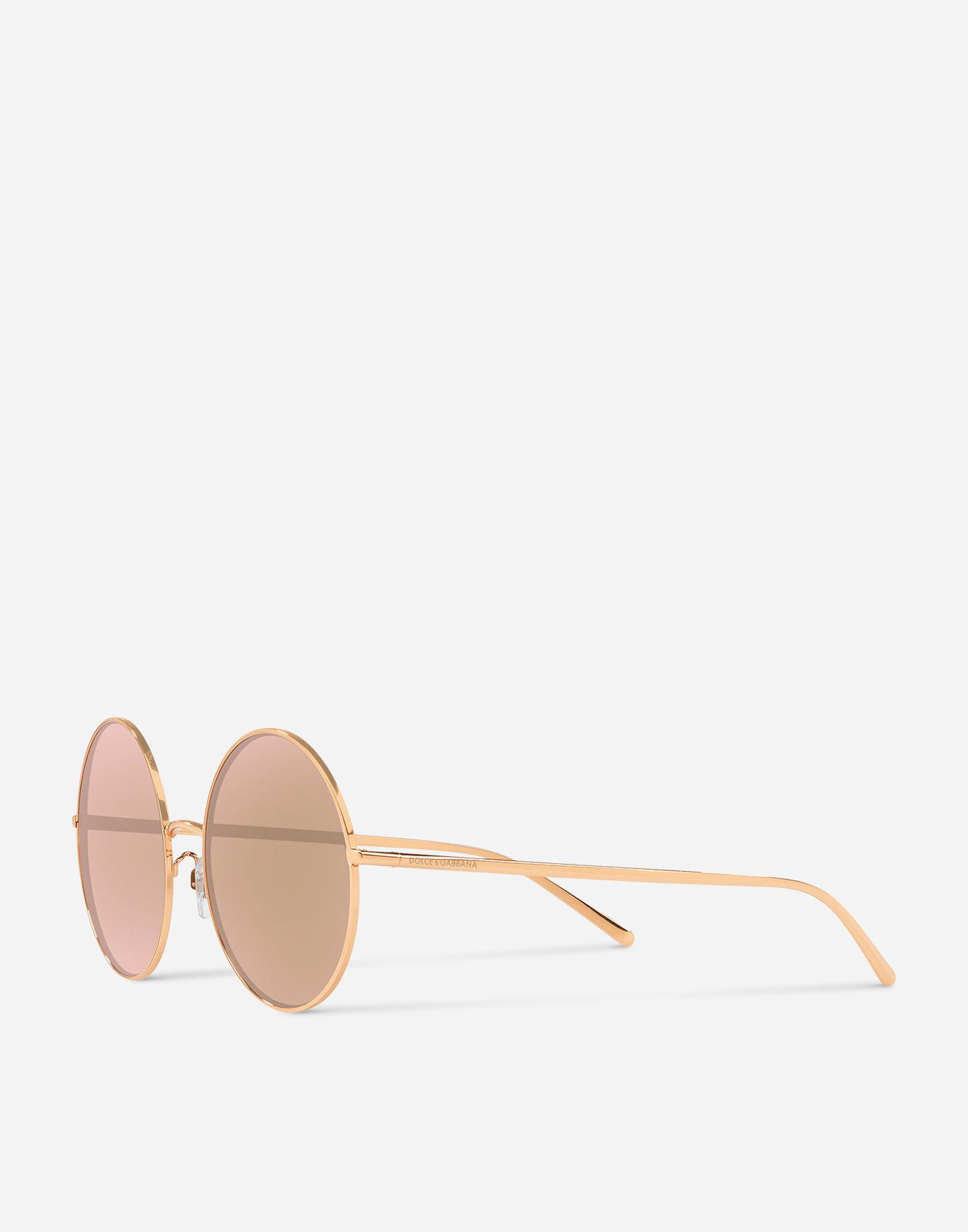 57750e3f45fa Lyst - Dolce   Gabbana Round Gold Plated Sunglasses in Pink