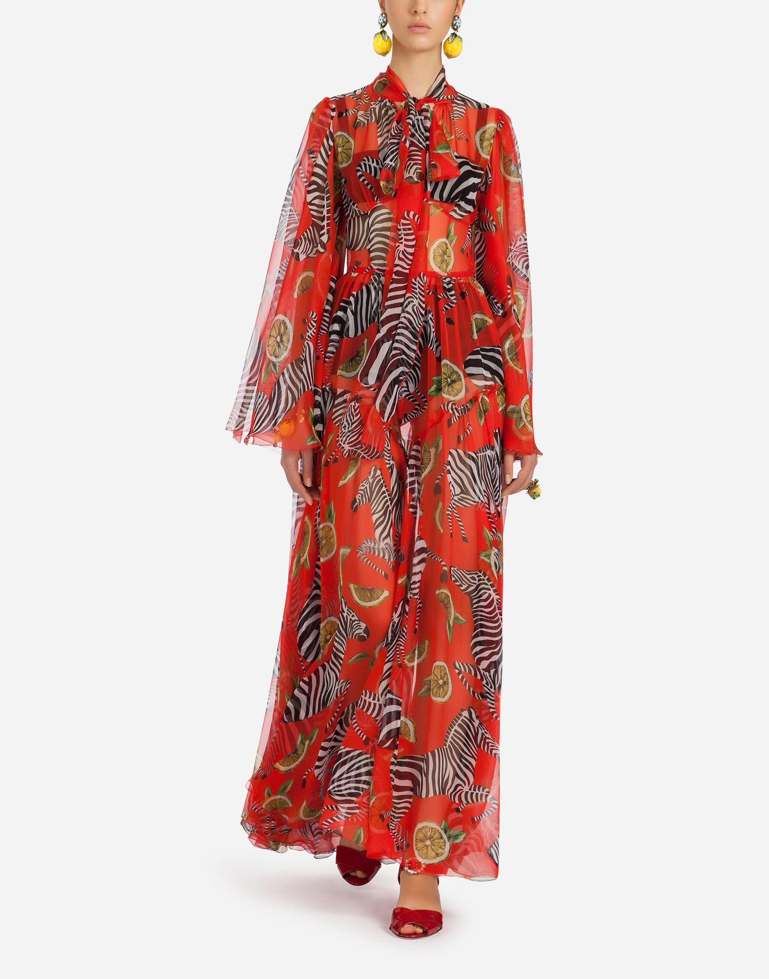 Printed Silk-chiffon Jumpsuit - Red Dolce & Gabbana Discount Lowest Price Sale Latest Fake For Sale Best Sale Cheap Online Discount Best Prices aBMLN8H0