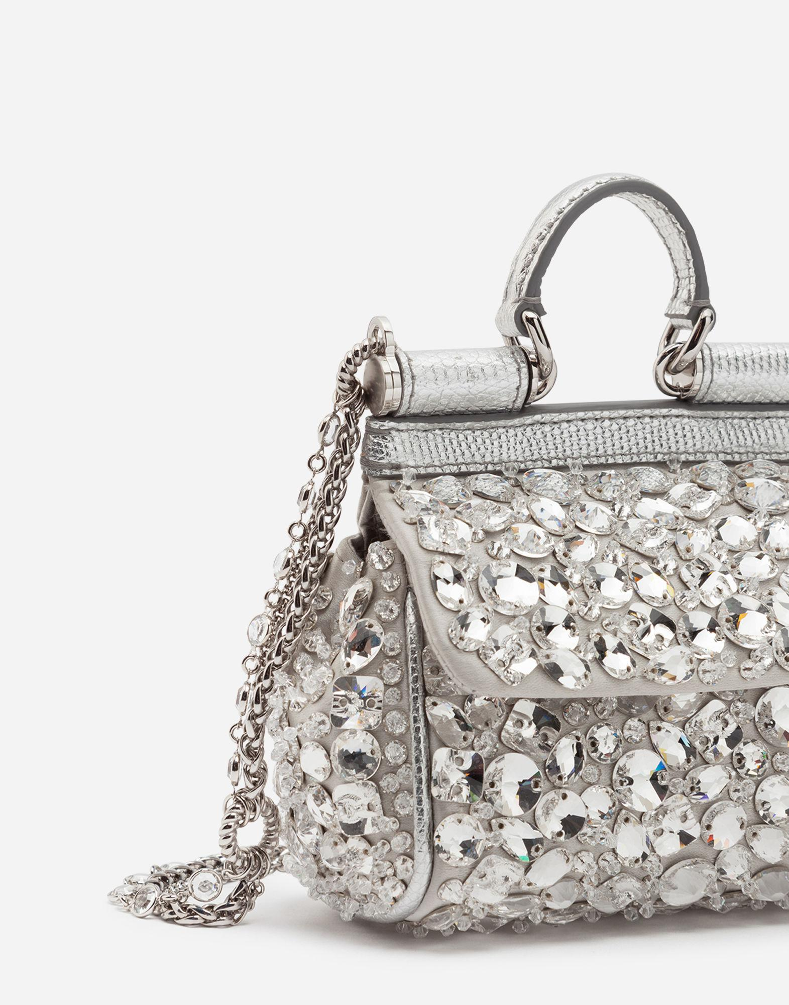 Lyst - Dolce Gabbana Micro Sicily Bag In Satin With Embroideries in  Metallic outlet store 925c5  Dolce and Gabbana Yellow Lizard Embossed  Leather ... 985740ed83ecc