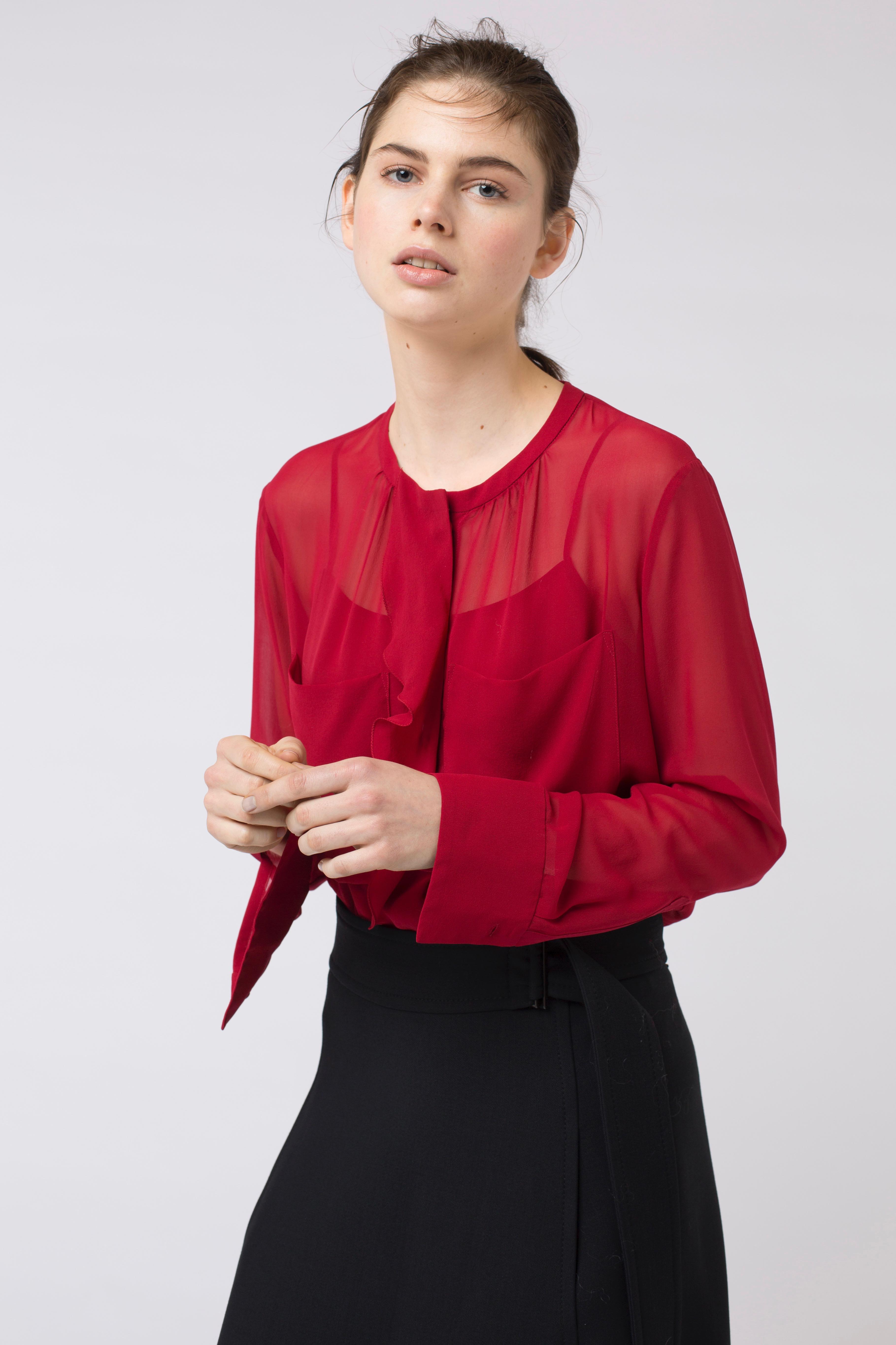 lyst dorothee schumacher sensitive lightness top in red. Black Bedroom Furniture Sets. Home Design Ideas
