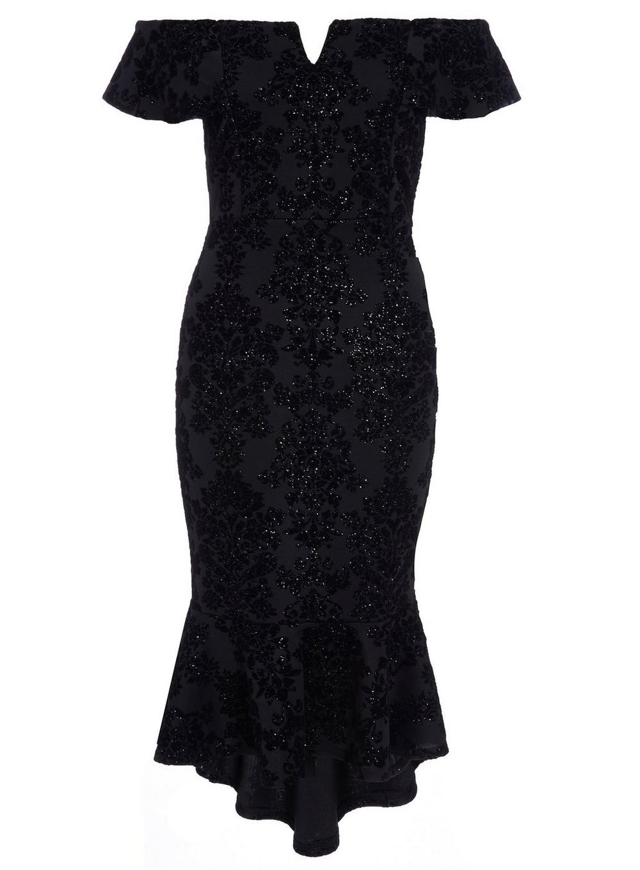 a7de2e8105b Dorothy Perkins Quiz Black Glitter Bardot Bodycon Dress in Black - Lyst