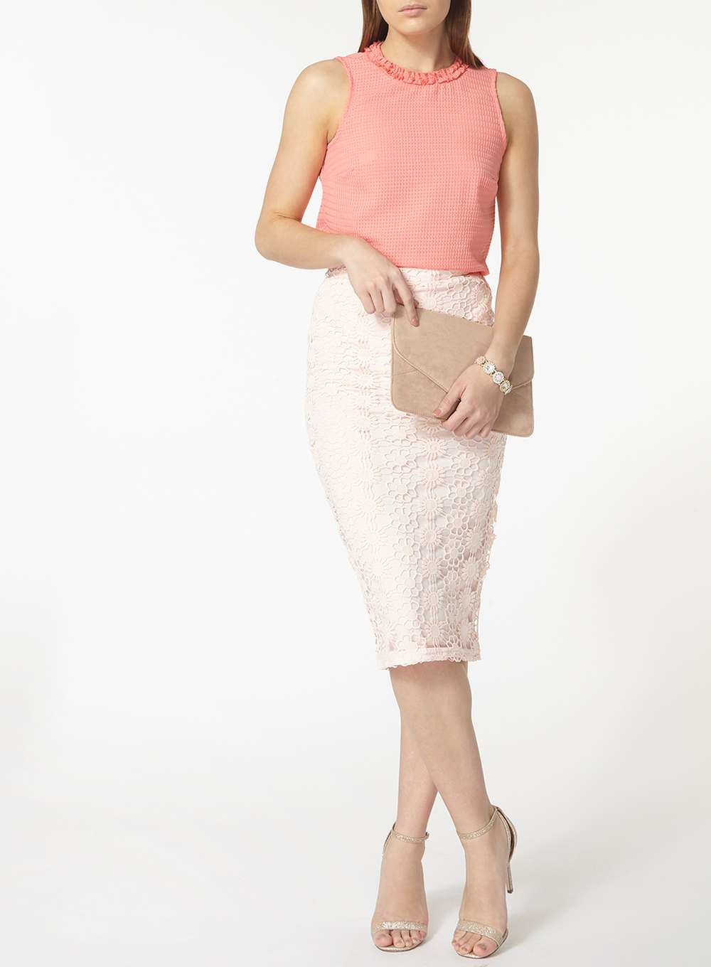 dorothy perkins blush broderie pencil skirt in pink lyst