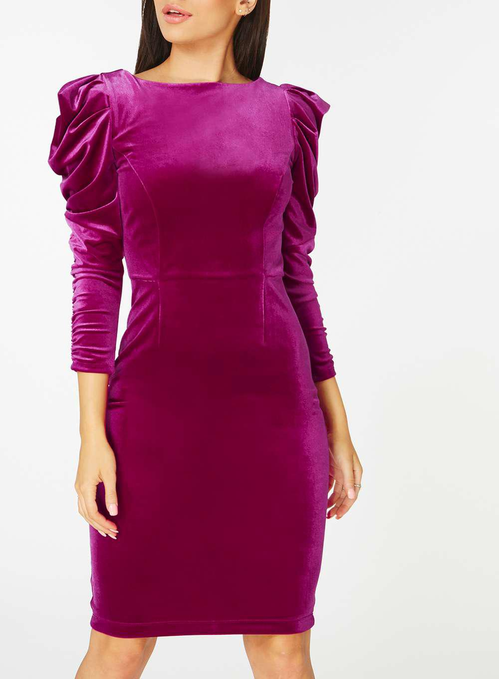 782ede084e7 Lyst - Dorothy Perkins Velvet Rouched Sleeve Bodycon Dress in Pink