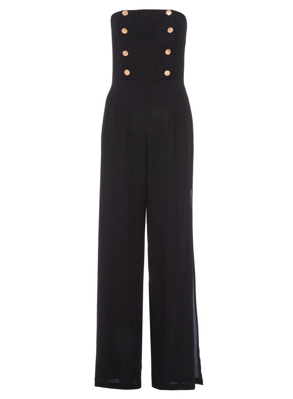 6e5006d04ac Lyst - Dorothy Perkins Quiz Black Gold Button Jumpsuit in Black