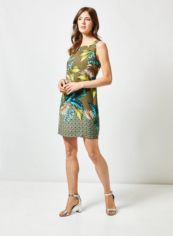 83fb4bd7f8b Dorothy Perkins - Green Khaki Leaf Print Boarder Shift Dress - Lyst. View  fullscreen