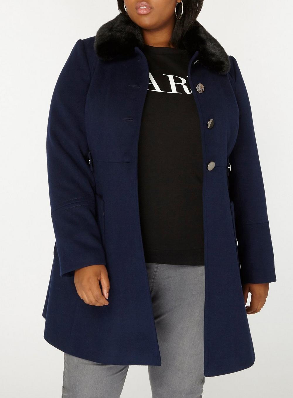0b9b3404f4b Dorothy Perkins - Blue Dp Curve Navy Faux Fur Dolly Coat - Lyst. View  fullscreen