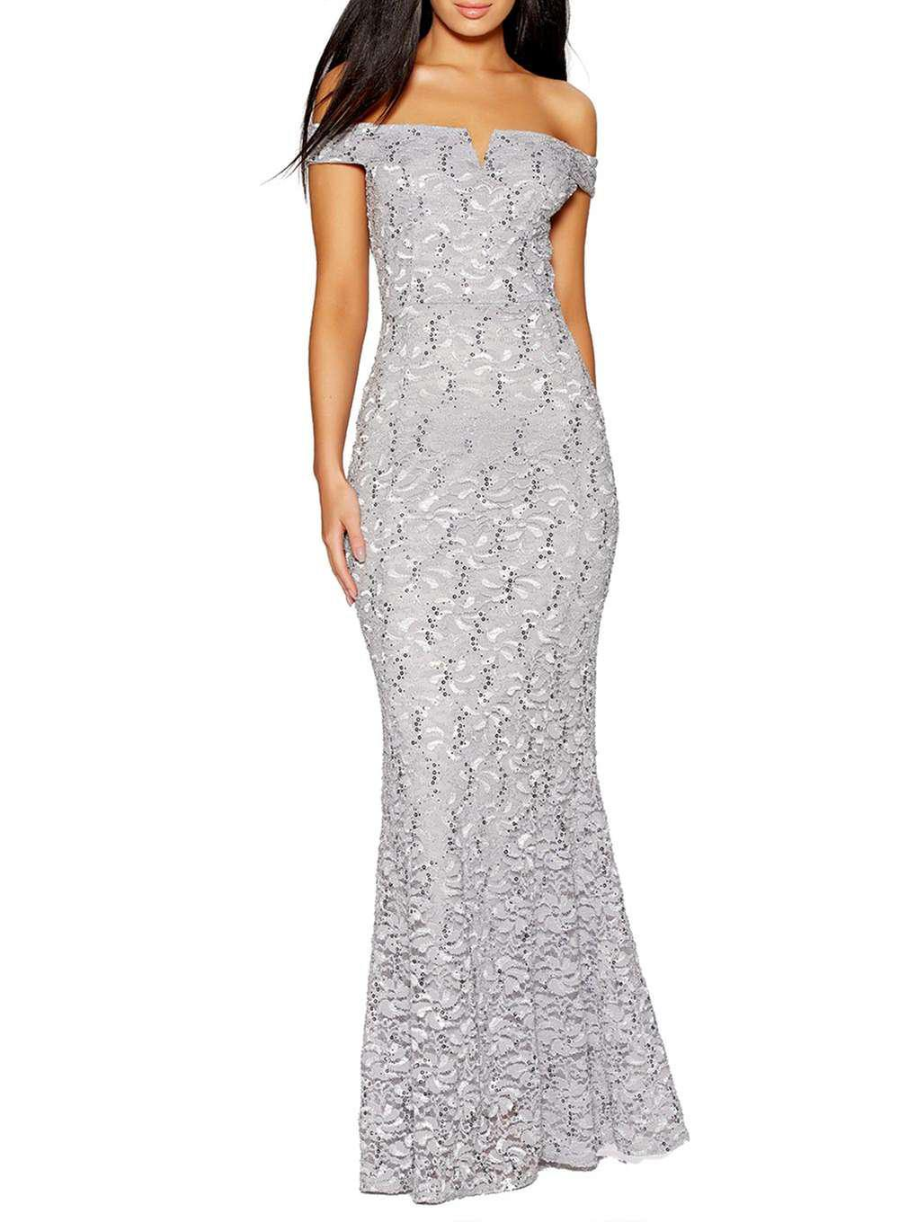 afb68960afc Lyst - Dorothy Perkins Quiz Silver Sequin Fishtail Maxi Dress in ...